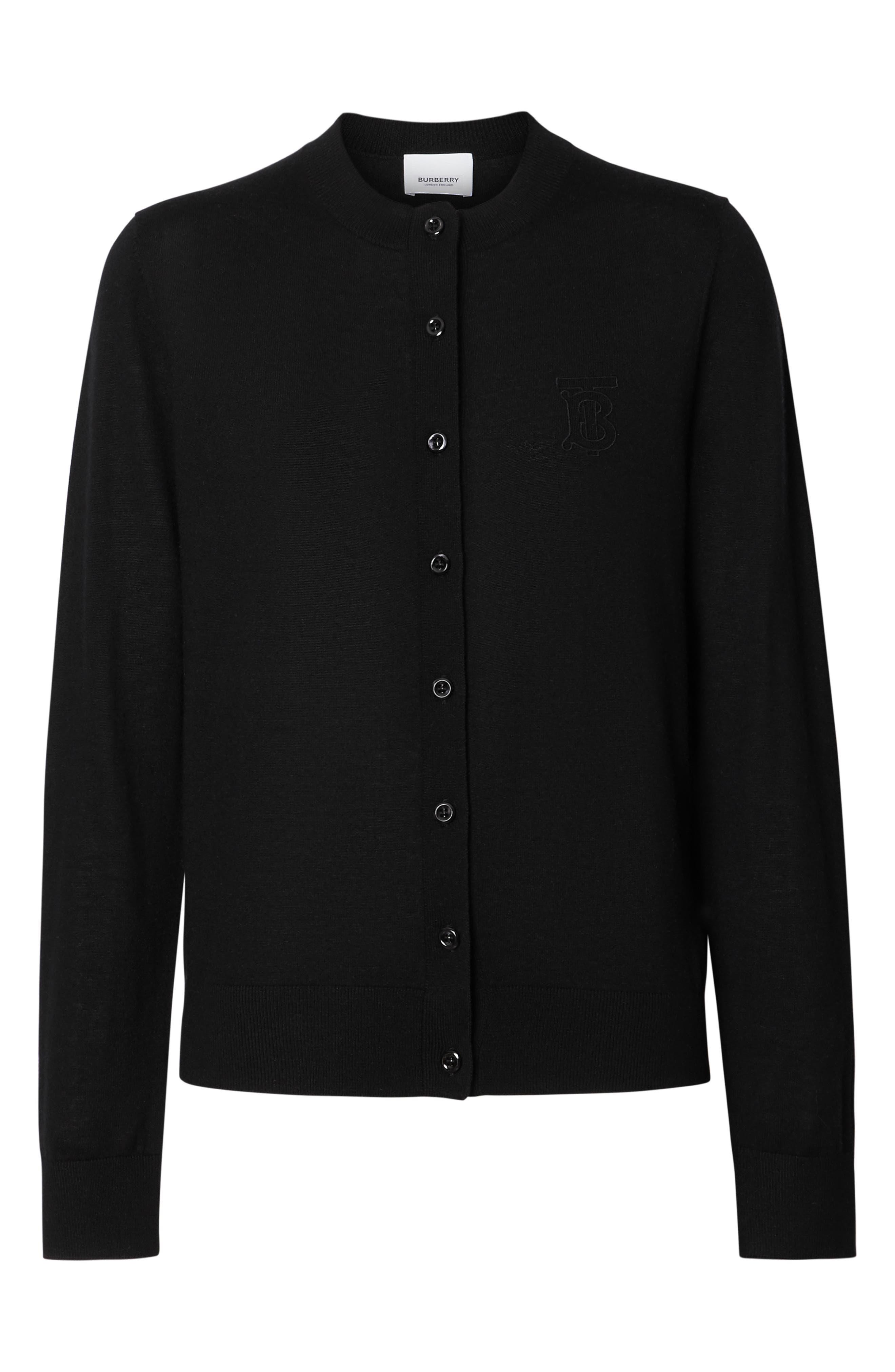BURBERRY, Monogram Logo Cashmere Cardigan, Alternate thumbnail 5, color, BLACK