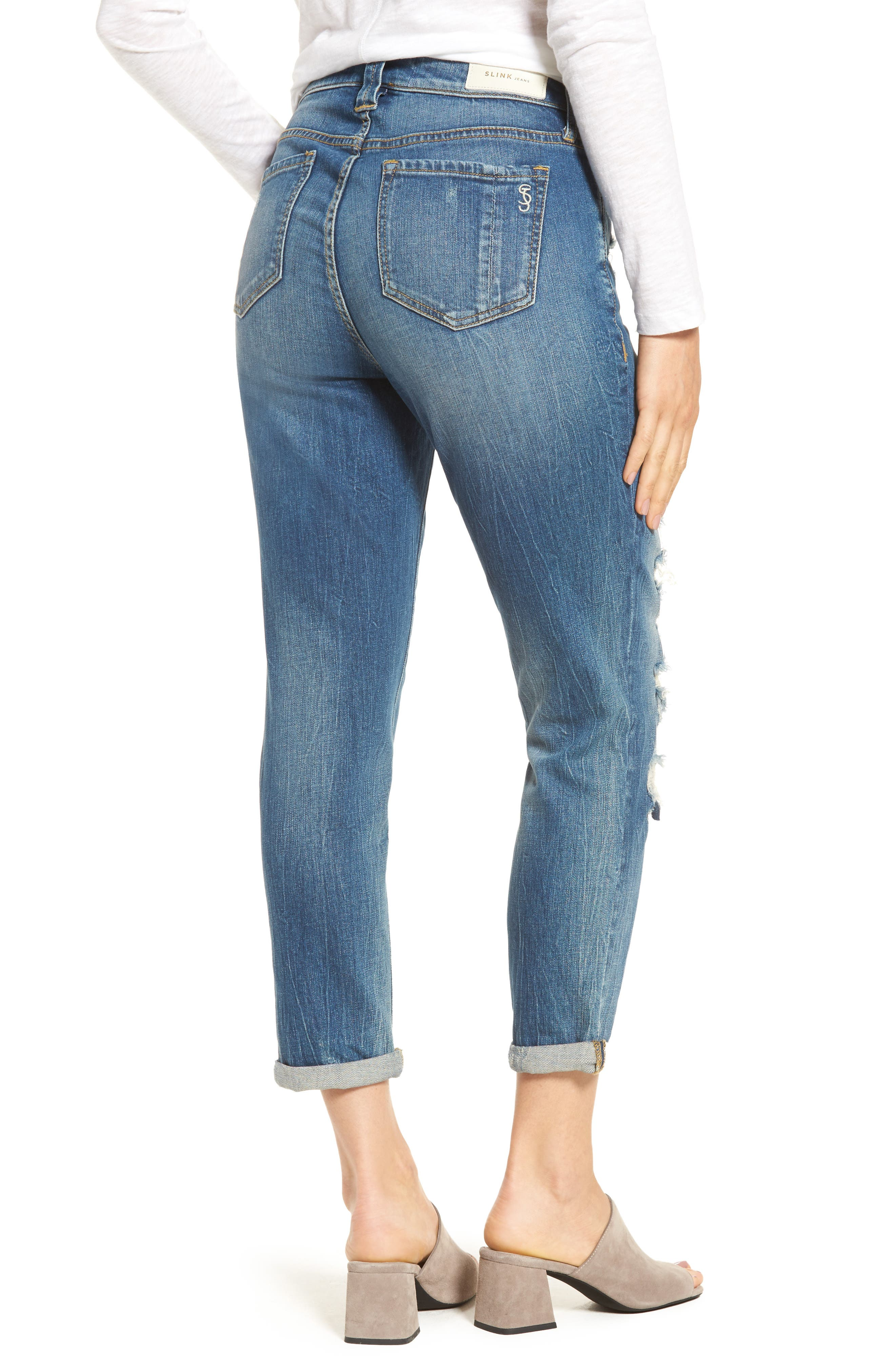 SLINK JEANS, Distressed Ankle Boyfriend Jeans, Alternate thumbnail 2, color, 456
