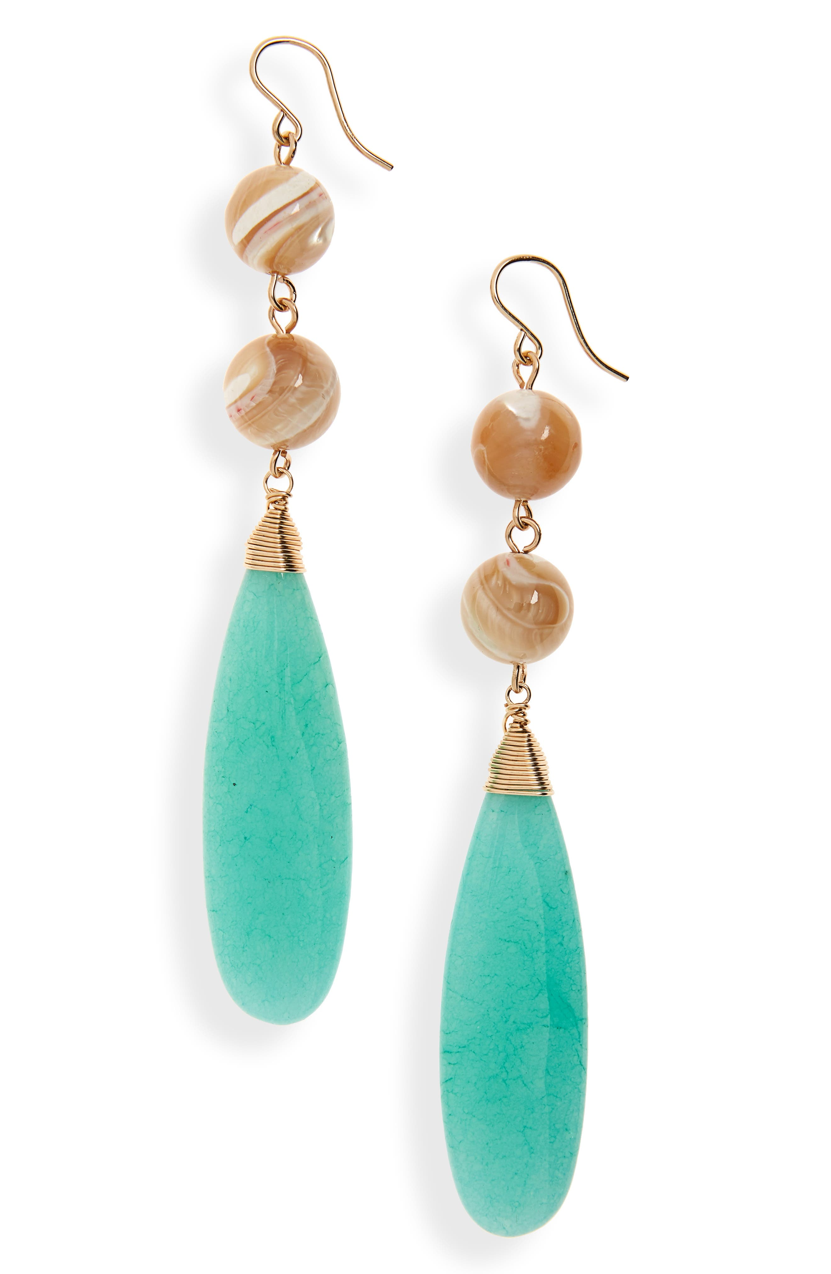BECK JEWELS, Jade Shoulder Duster Earrings, Main thumbnail 1, color, JADE