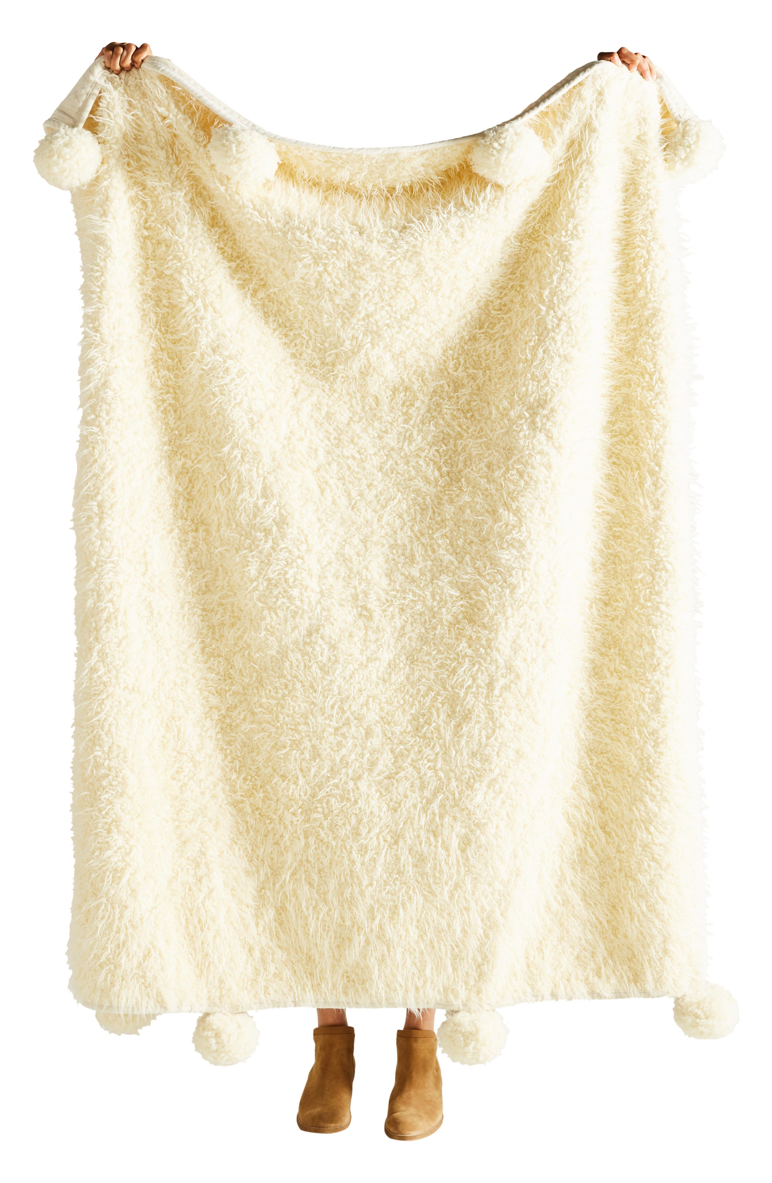 ANTHROPOLOGIE, Bailey Faux Fur Throw Blanket, Alternate thumbnail 3, color, IVORY