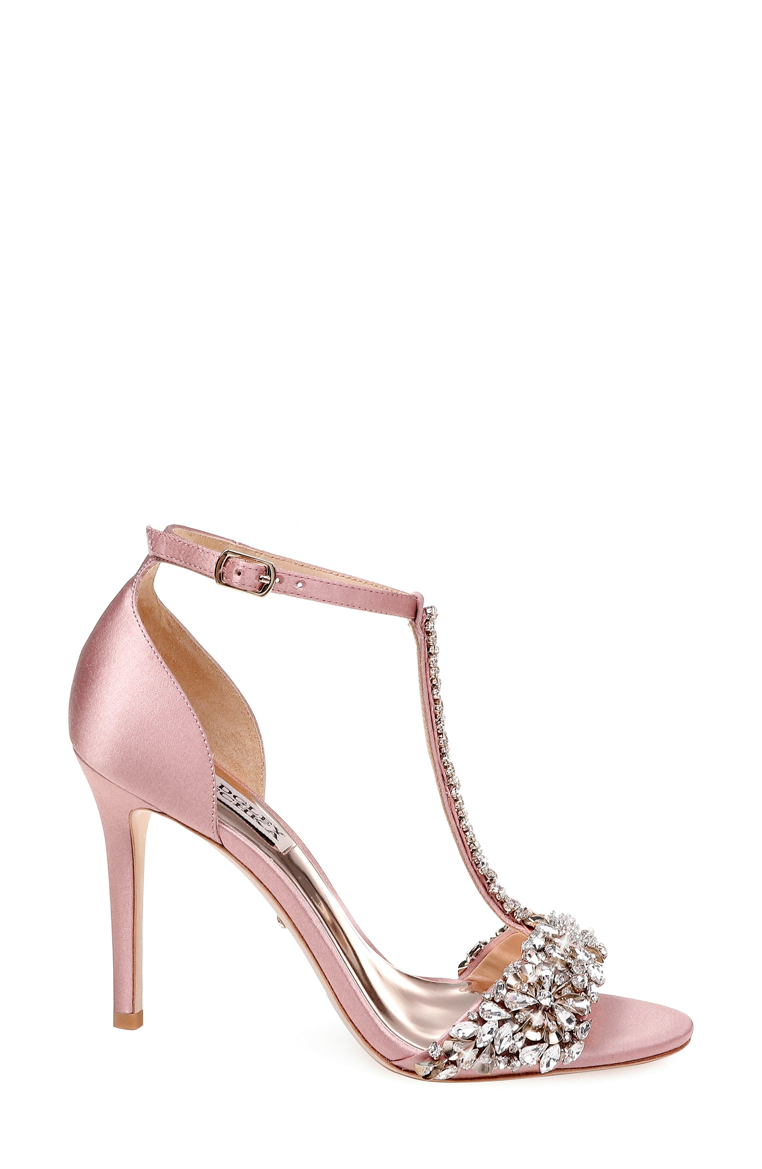 BADGLEY MISCHKA COLLECTION, Badgley Mischka Crystal Embellished Sandal, Alternate thumbnail 3, color, PINK ROSE SATIN