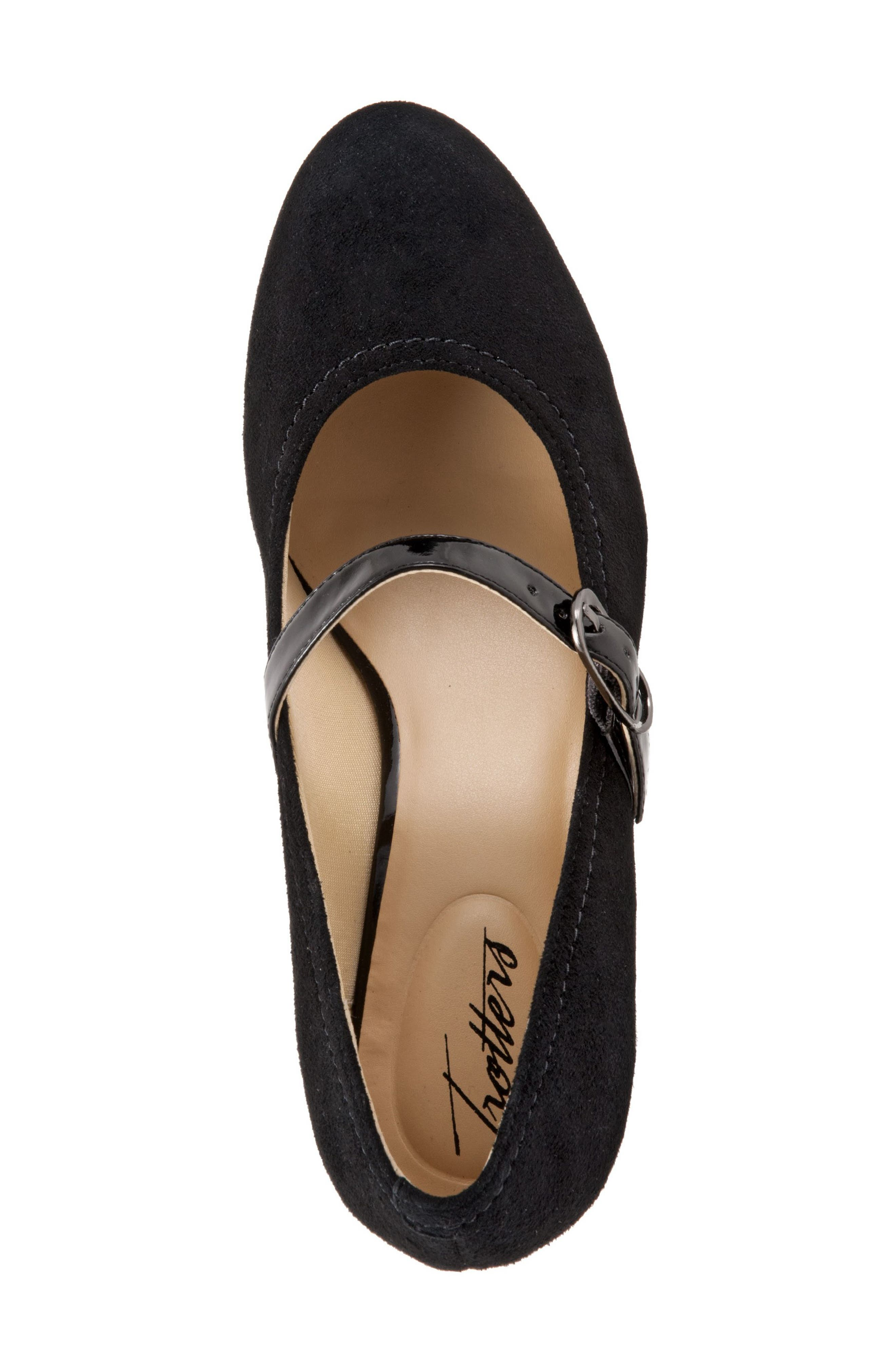 TROTTERS, 'Candice' Mary Jane Pump, Alternate thumbnail 4, color, BLACK SUEDE