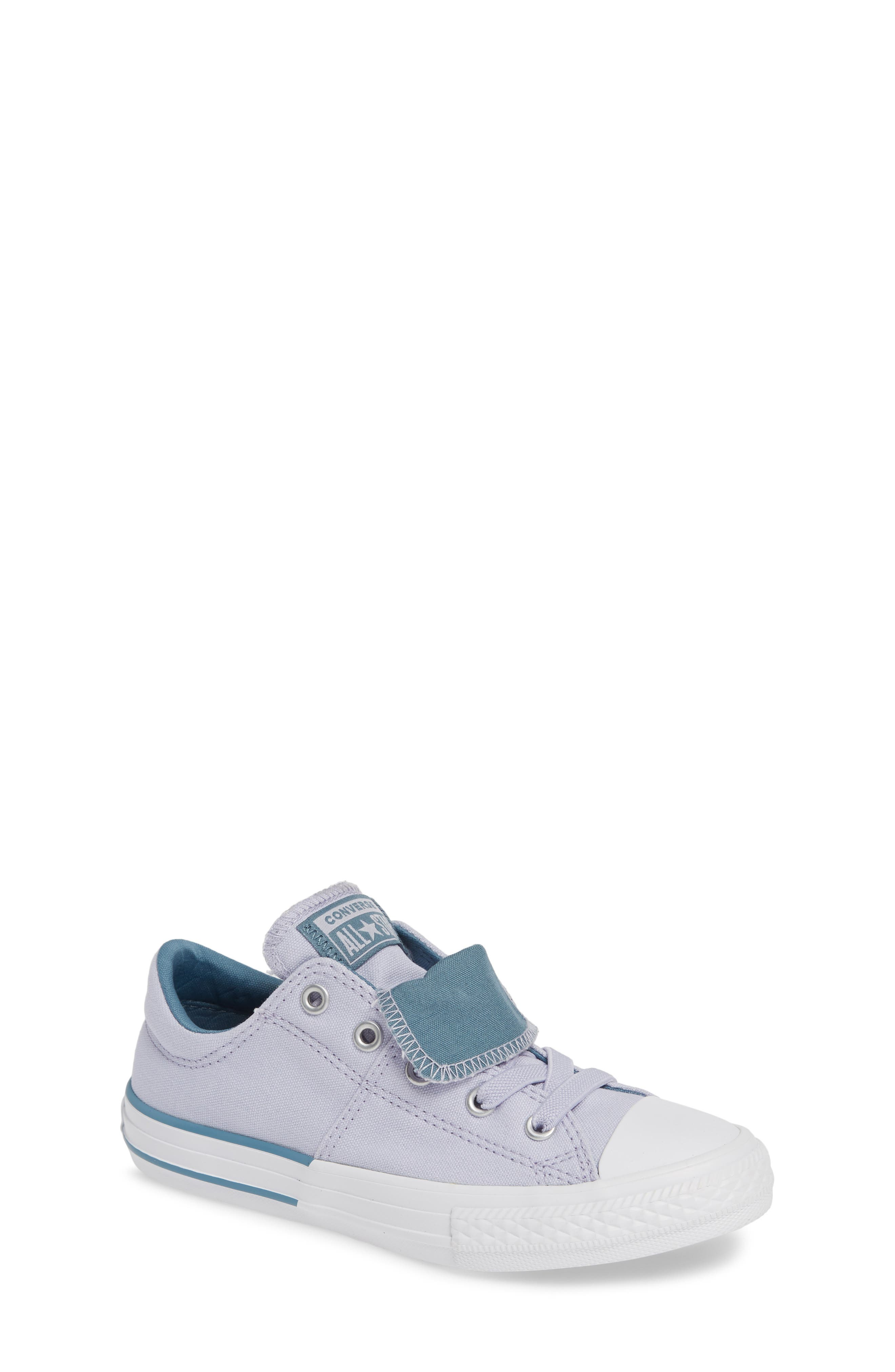 CONVERSE, Chuck Taylor<sup>®</sup> All Star<sup>®</sup> Maddie Double Tongue Sneaker, Main thumbnail 1, color, OXYGEN PURPLE/ CELESTIAL TEAL