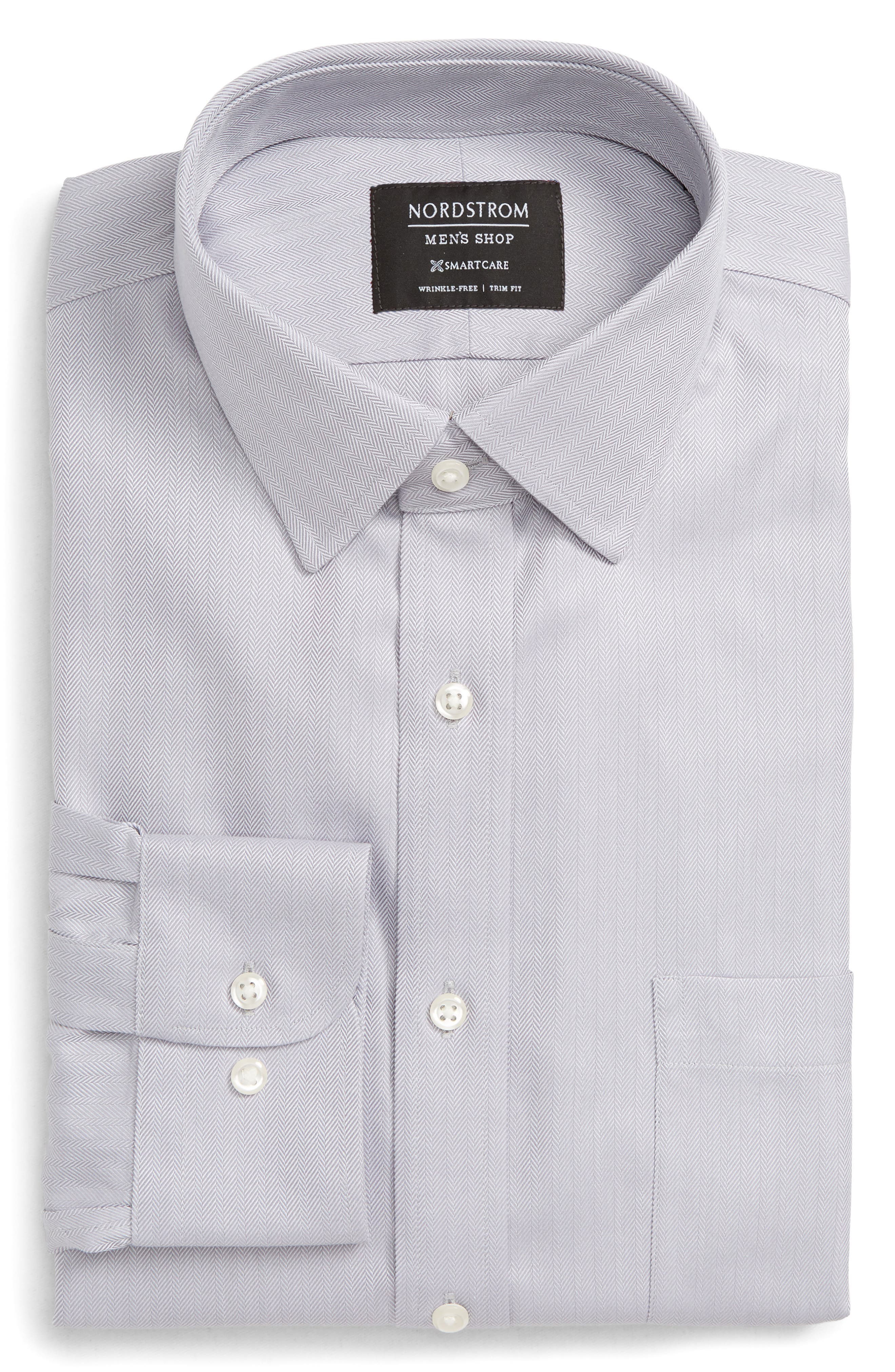 NORDSTROM MEN'S SHOP, Smartcare<sup>™</sup> Trim Fit Herringbone Dress Shirt, Alternate thumbnail 5, color, GREY DECEMBER
