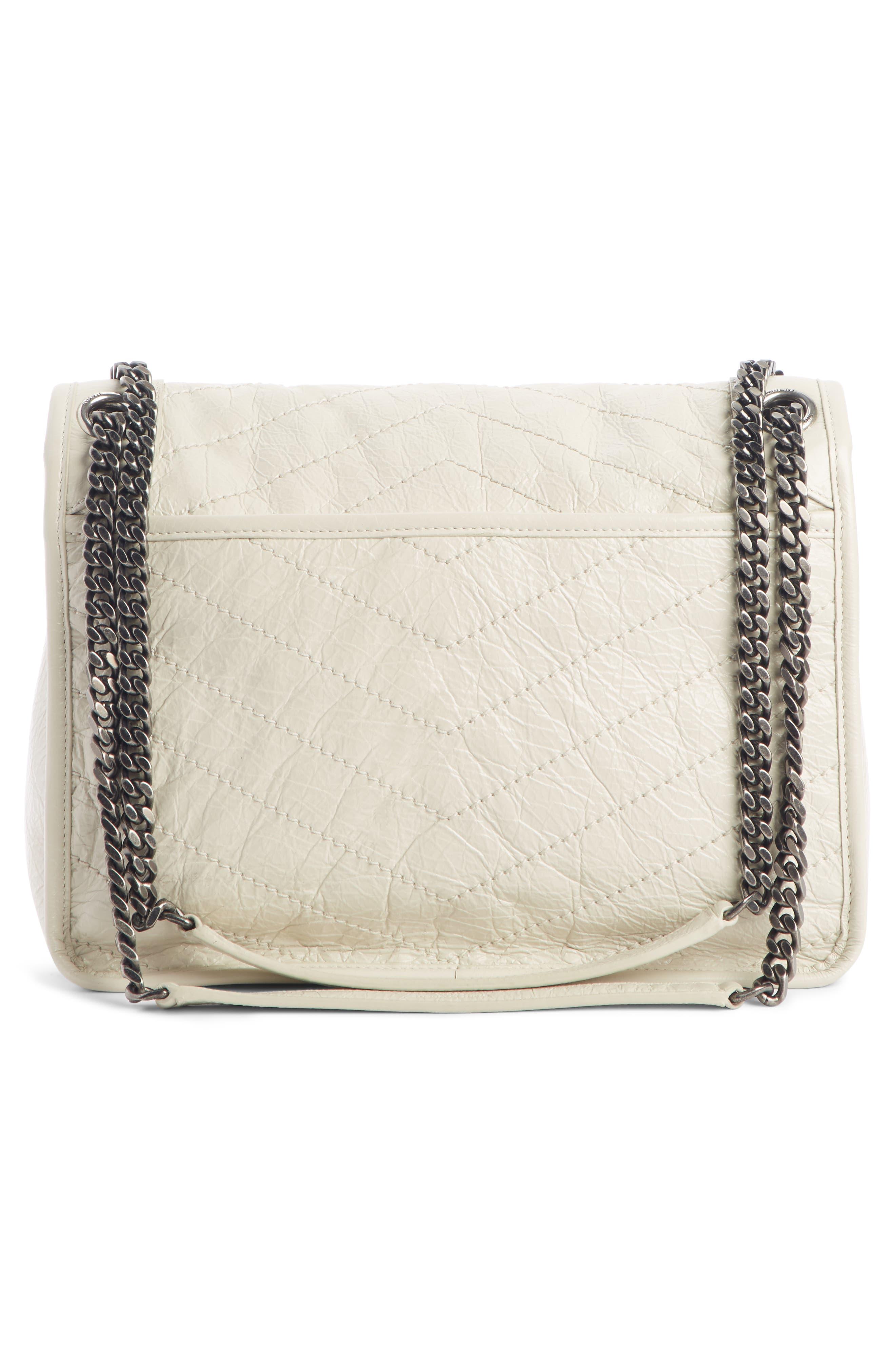 SAINT LAURENT, Medium Niki Leather Shoulder Bag, Alternate thumbnail 3, color, CREMA SOFT