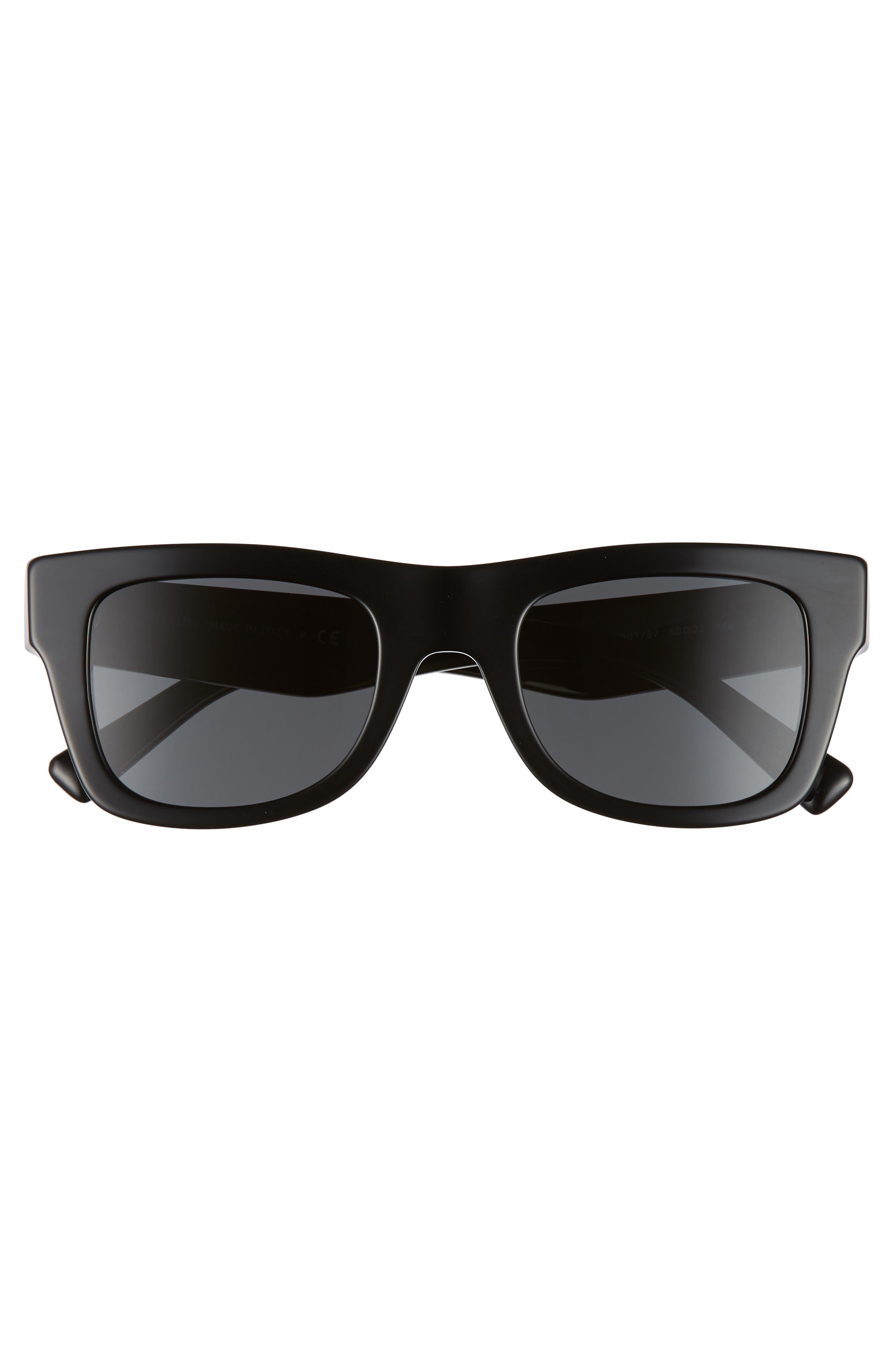 VALENTINO, VLTN 50mm Square Sunglasses, Alternate thumbnail 3, color, BLACK SOLID