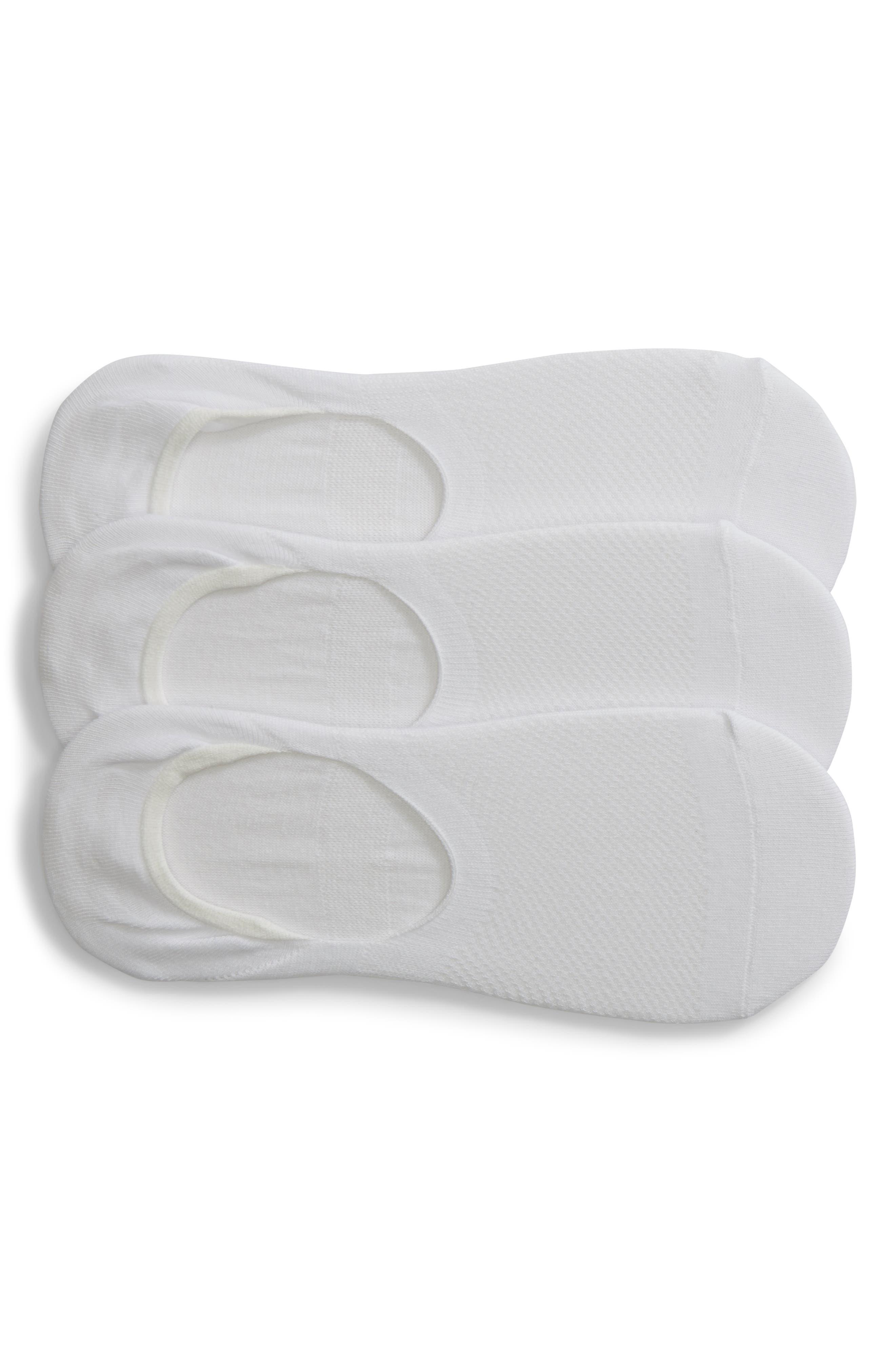 NORDSTROM, 3-Pack Liner Socks, Main thumbnail 1, color, WHITE