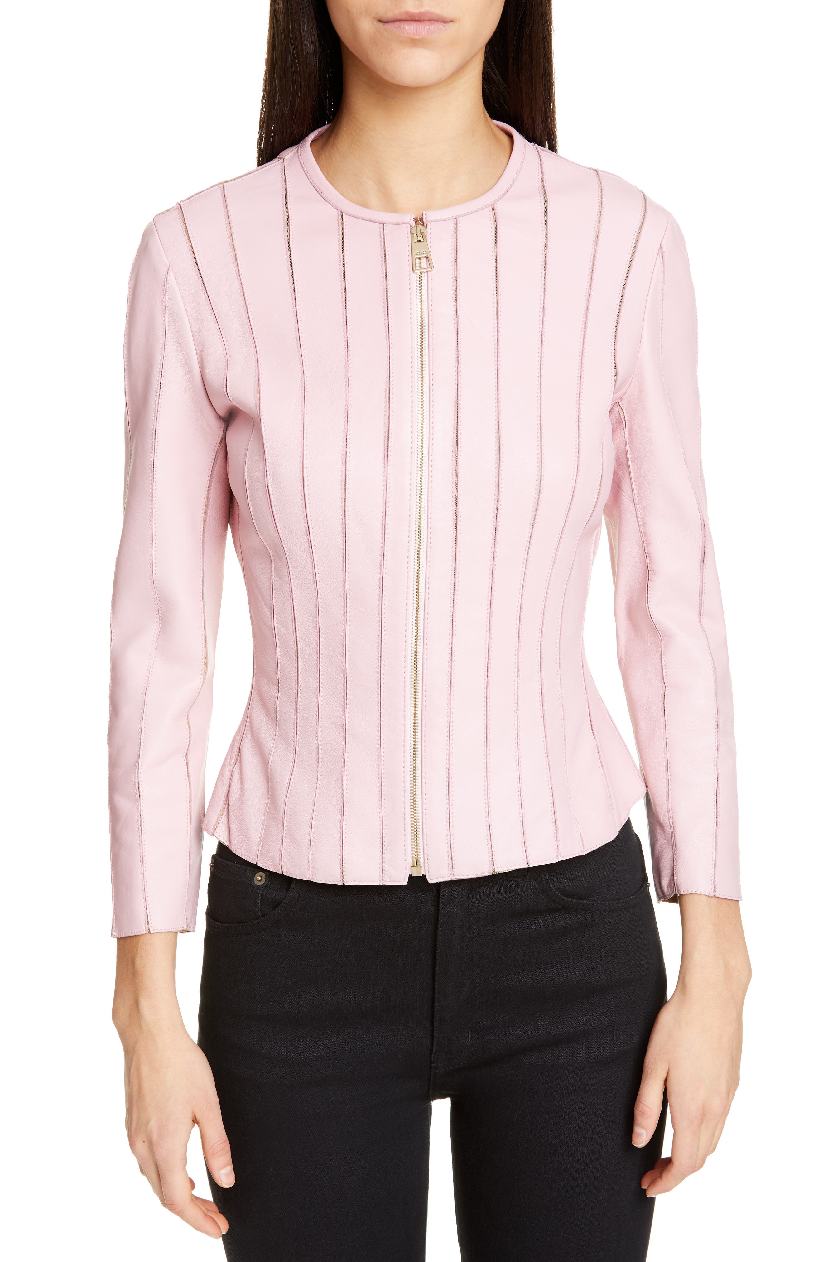 VERSACE COLLECTION, Mesh Rib Leather Jacket, Main thumbnail 1, color, PASTEL ROSE