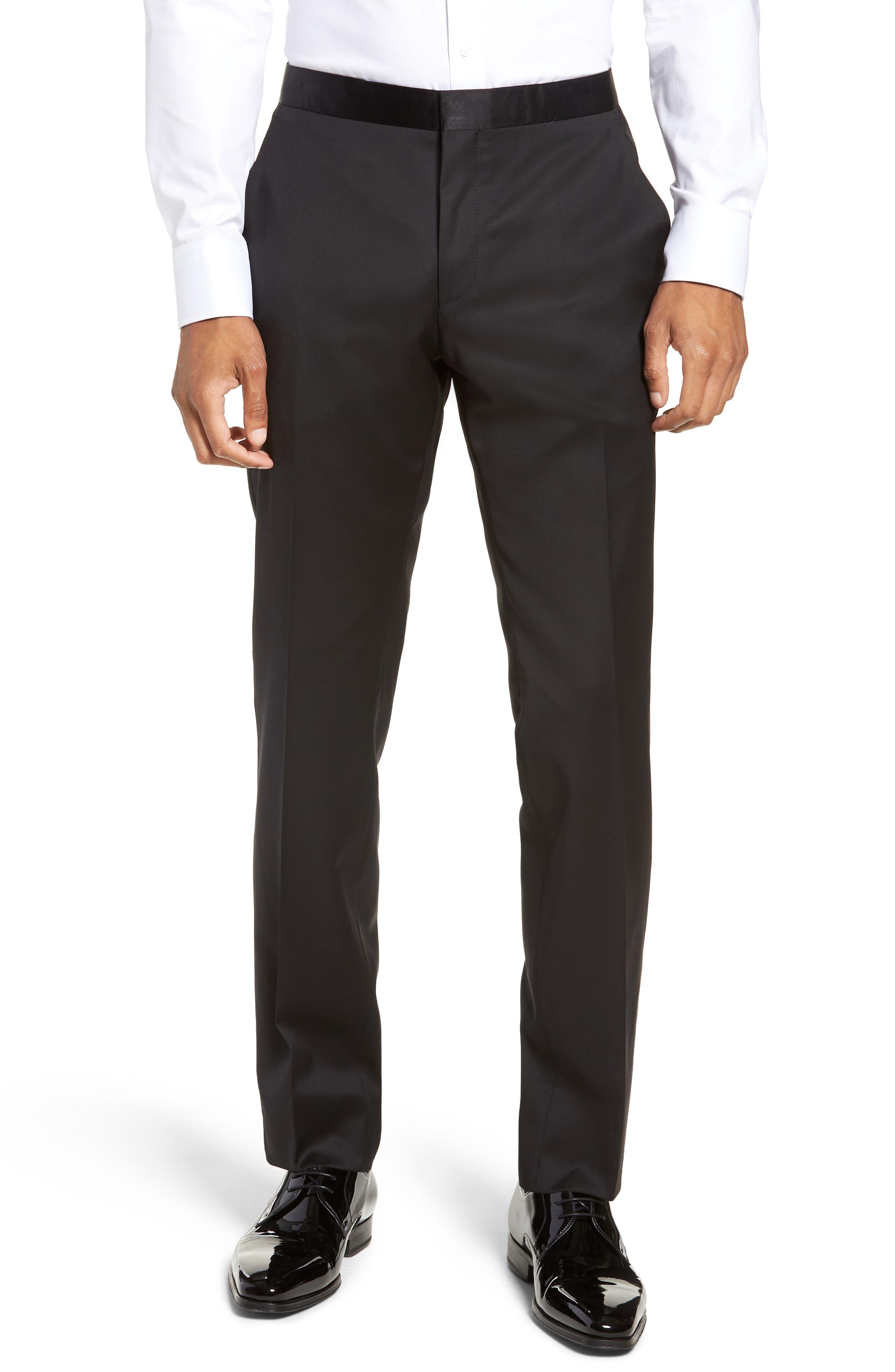 BOSS, Halven/Gentry Slim Fit Wool Tuxedo, Alternate thumbnail 6, color, BLACK
