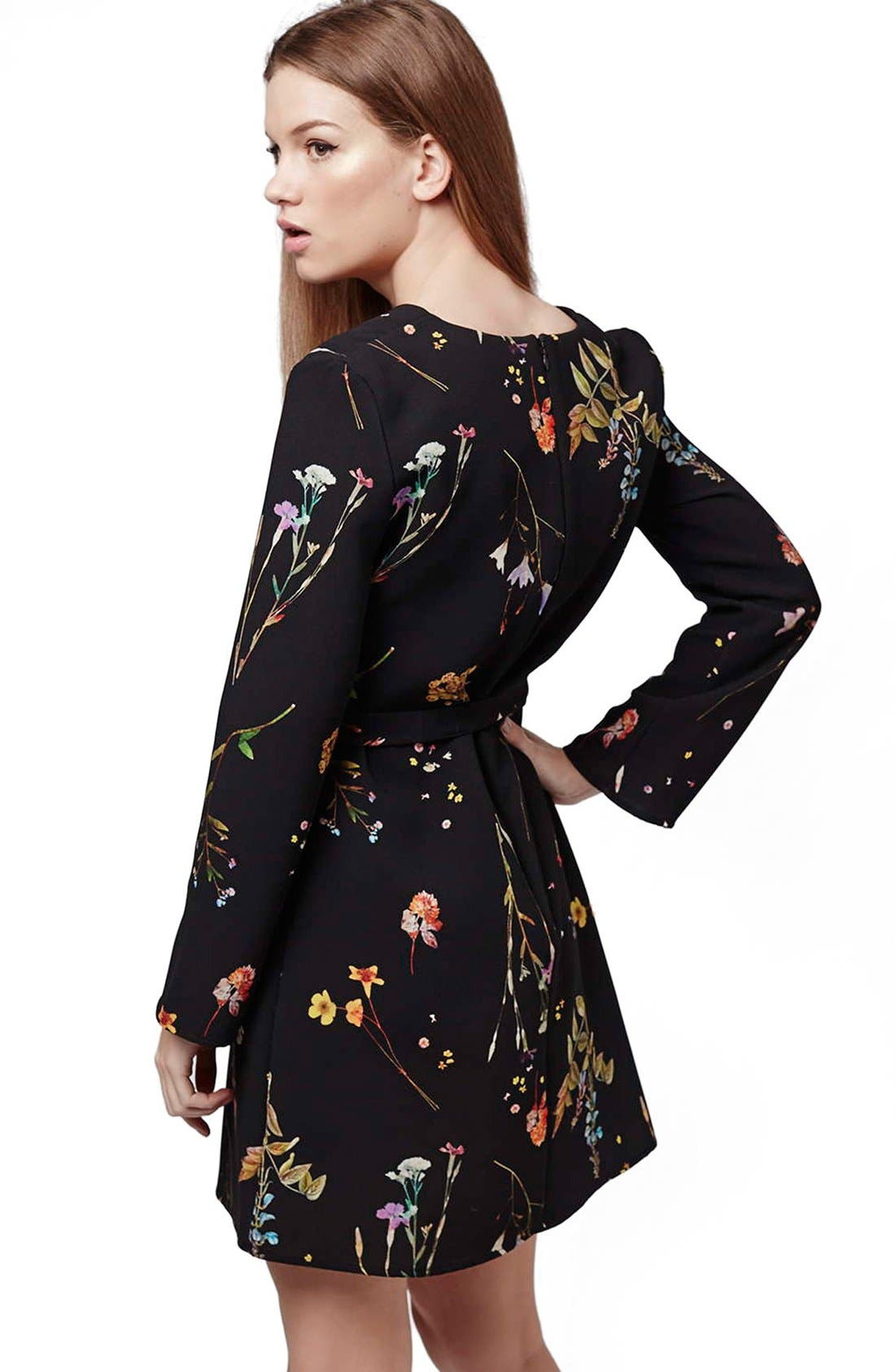 TOPSHOP, Belted Floral Tunic Dress, Alternate thumbnail 3, color, 001