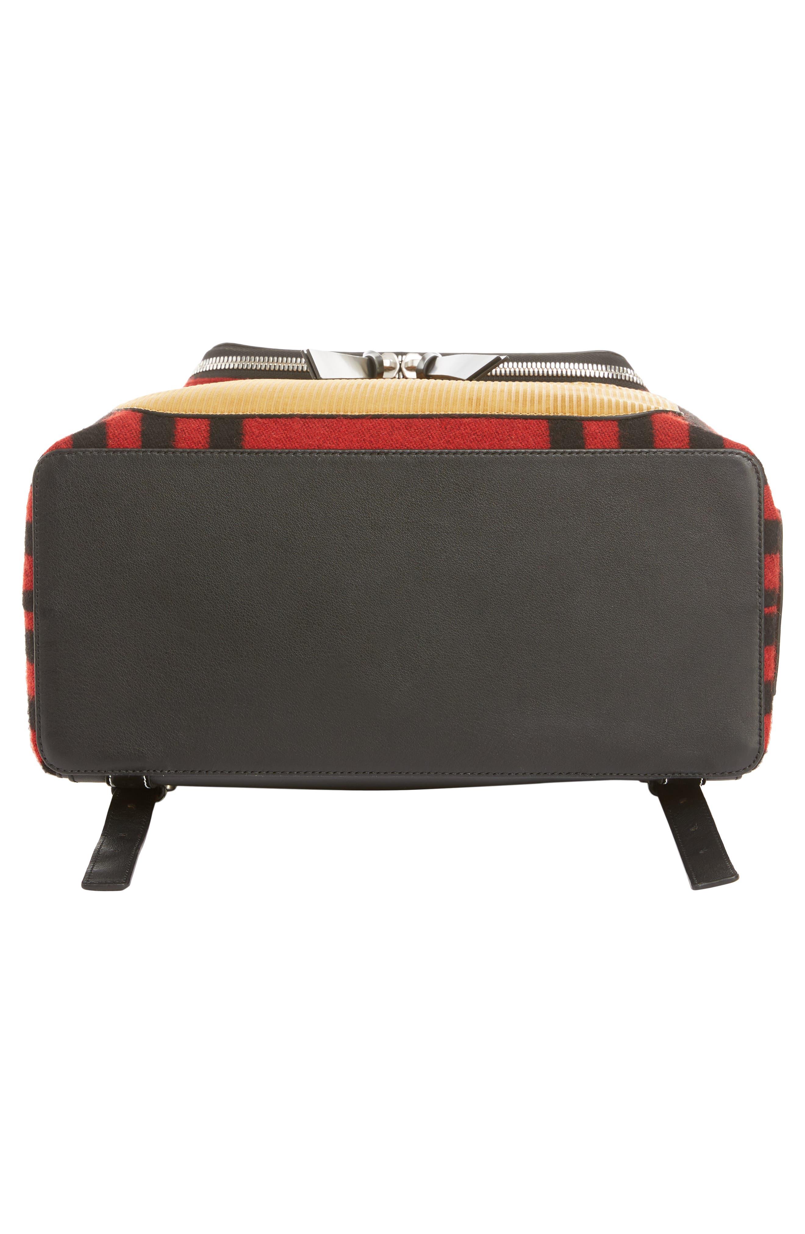 LOEWE, Goya Grid Backpack, Alternate thumbnail 5, color, SCARLET RED/BLACK