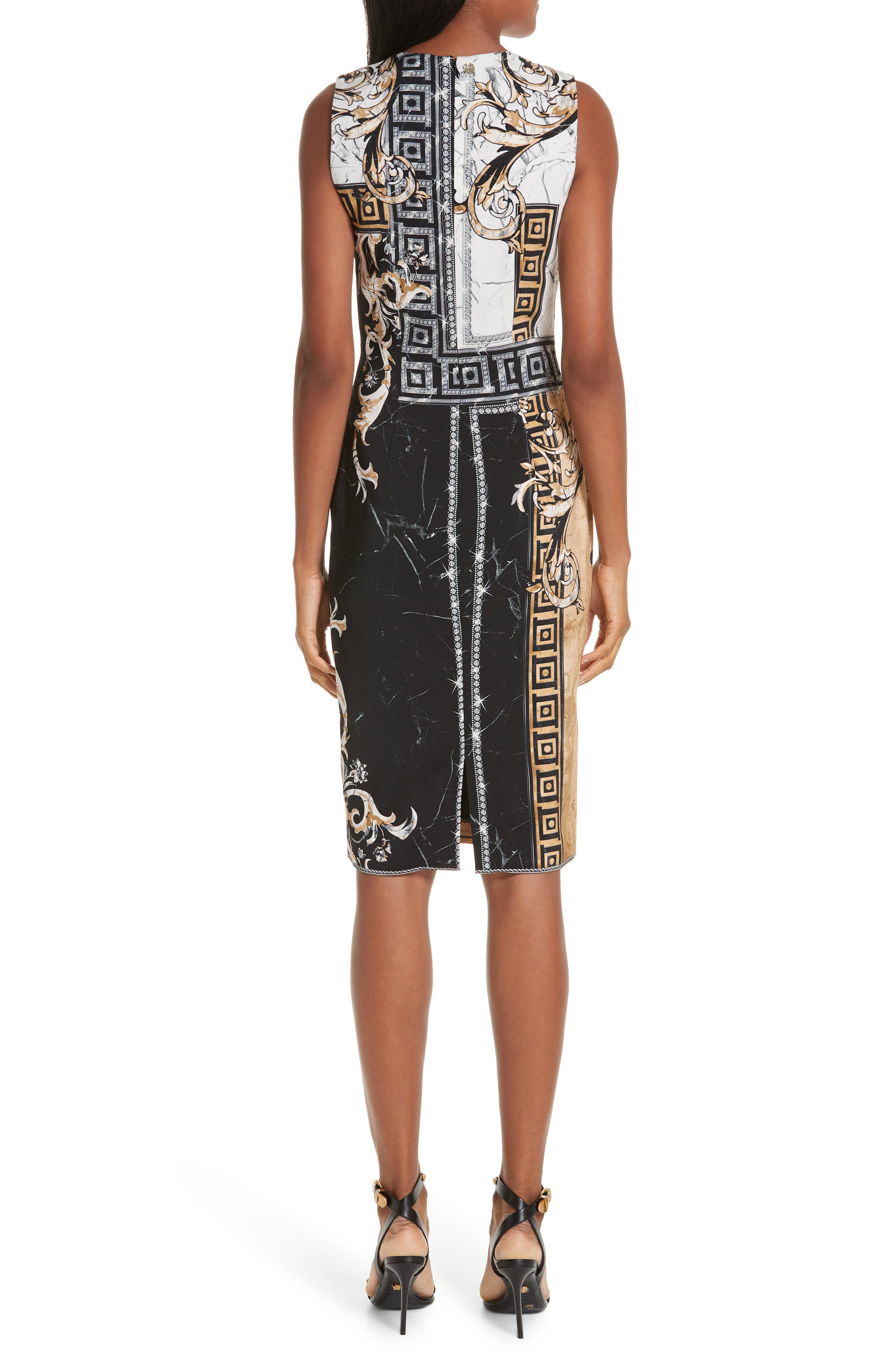 VERSACE COLLECTION, Marble Print Sheath Dress, Alternate thumbnail 2, color, BLACK
