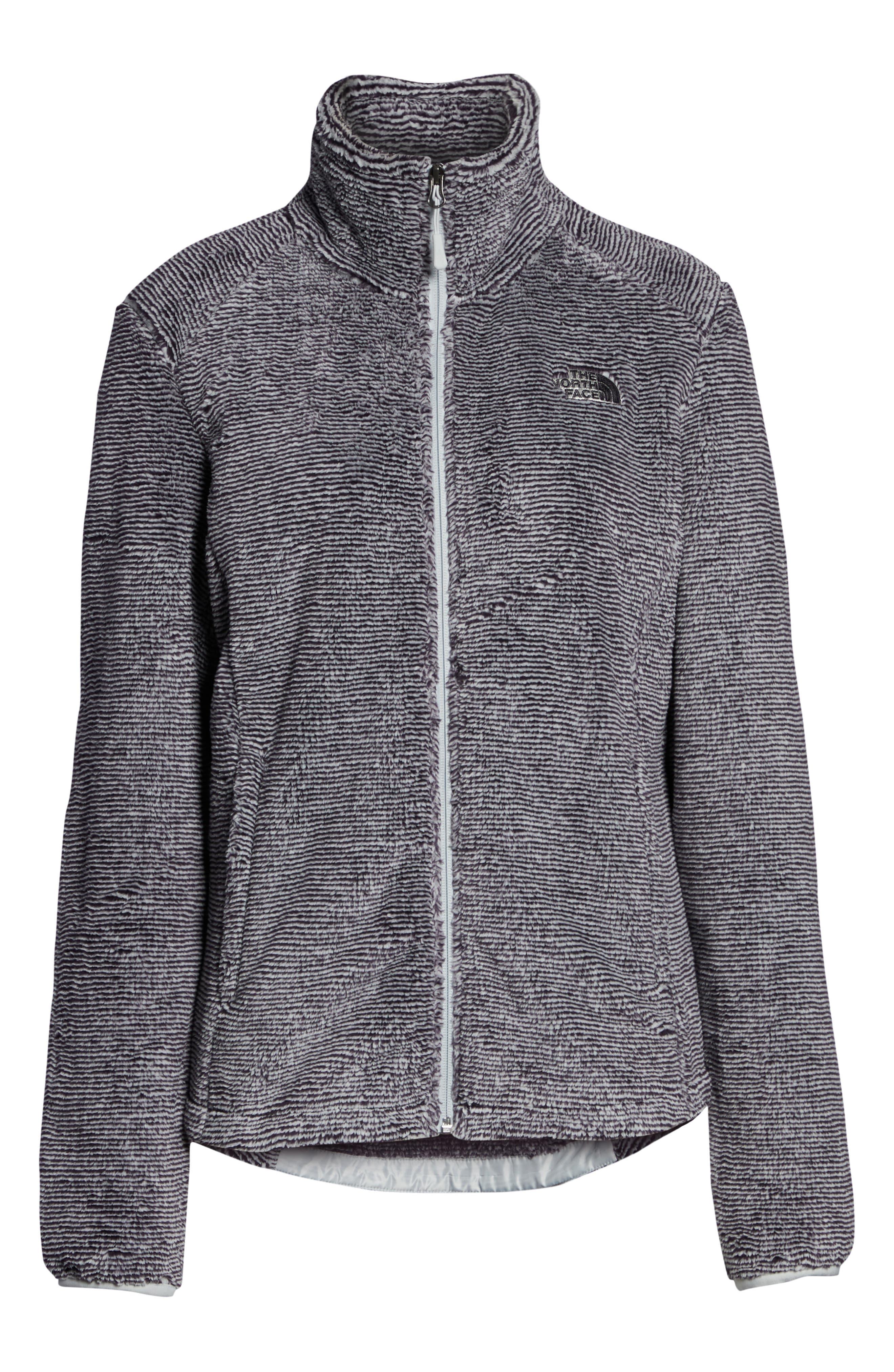 THE NORTH FACE, Osito 2 Stripe Fleece Jacket, Alternate thumbnail 6, color, BLACK/ TIN GREY STRIPE