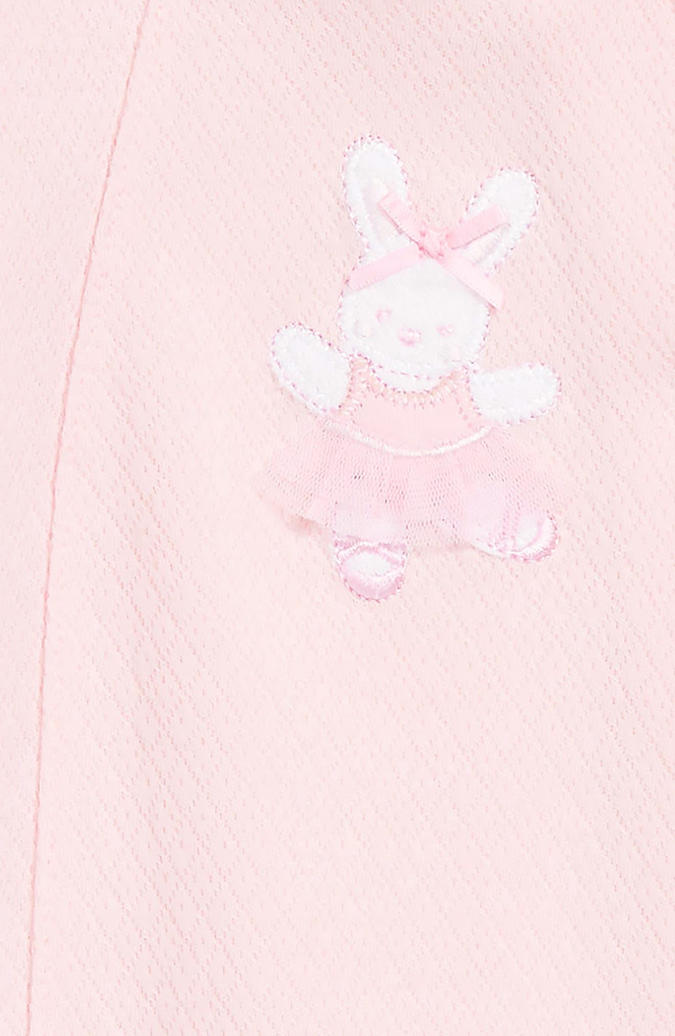 LITTLE ME, Ballet Bunny Footie & Beanie Set, Alternate thumbnail 2, color, LIGHT PINK
