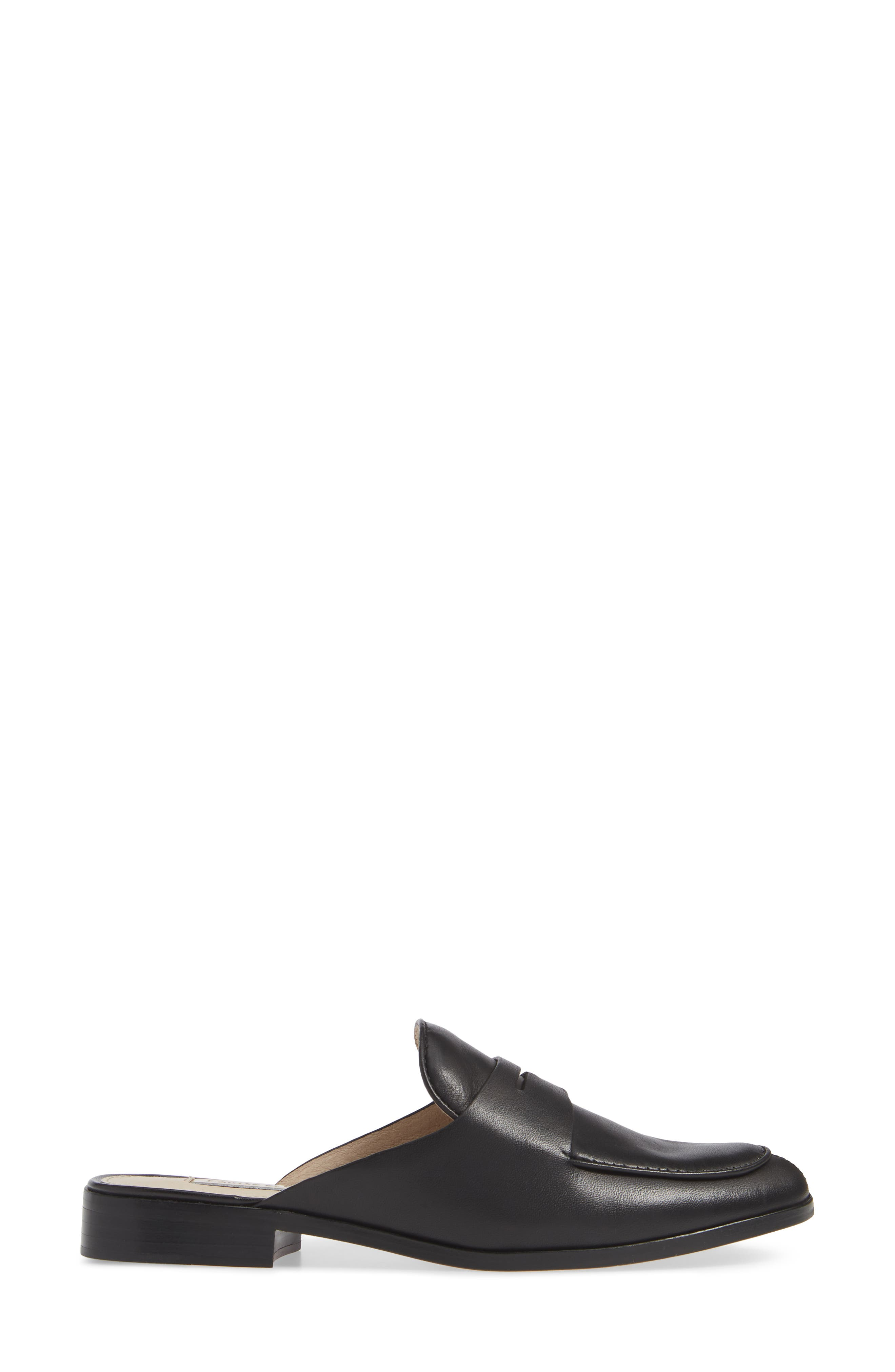 LOUISE ET CIE, Dugan Flat Loafer Mule, Alternate thumbnail 3, color, BLACK/BLACK LEATHER