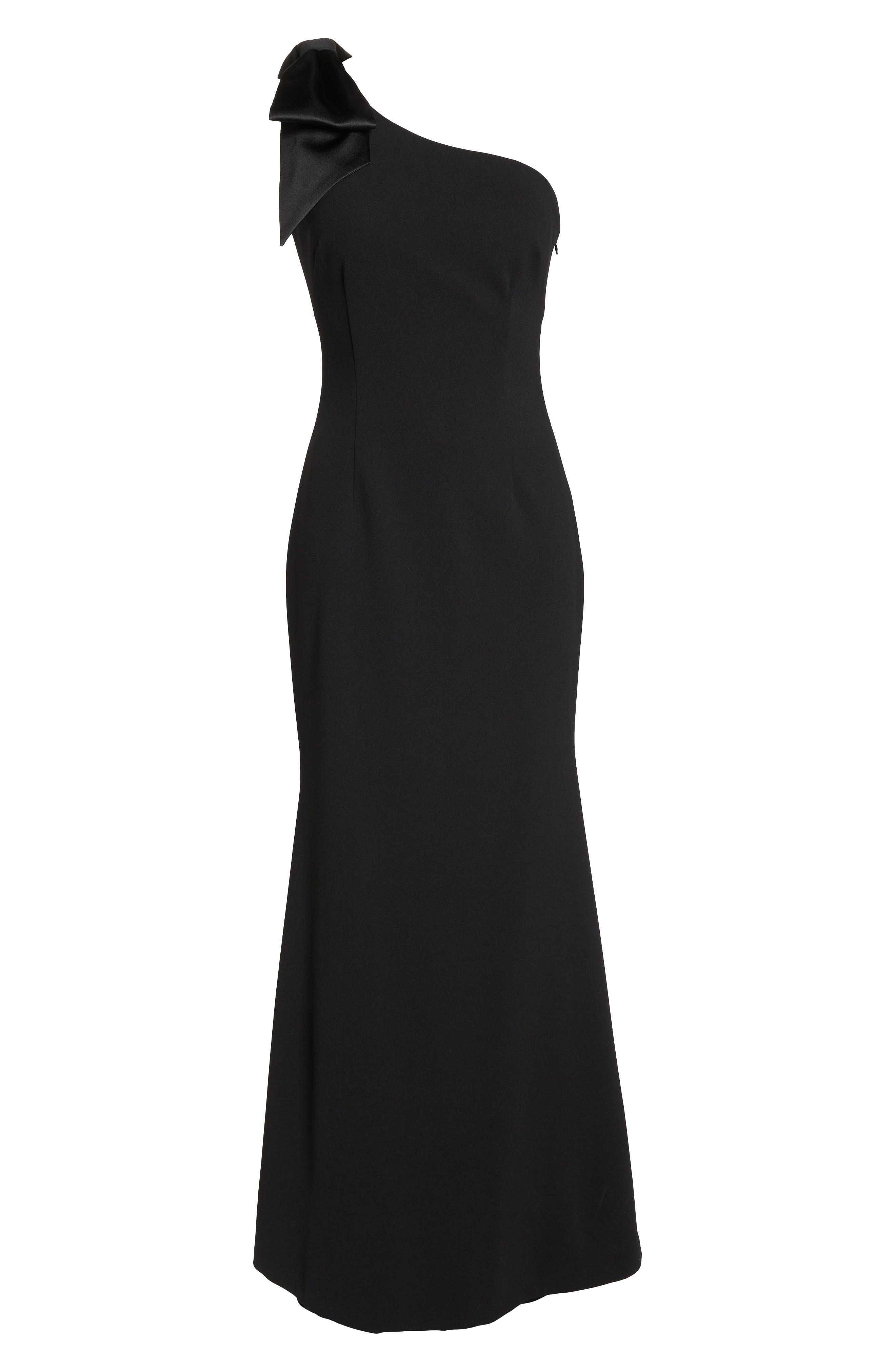 ELIZA J, One-Shoulder A-Line Gown, Alternate thumbnail 7, color, BLACK
