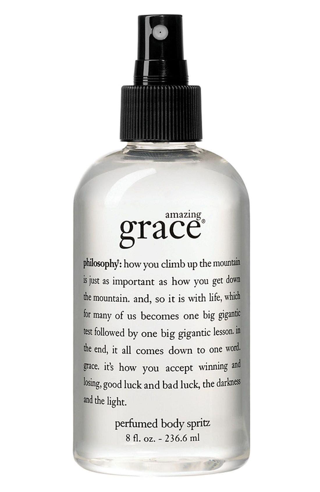 PHILOSOPHY, 'amazing grace' perfumed body spritz, Main thumbnail 1, color, NO COLOR