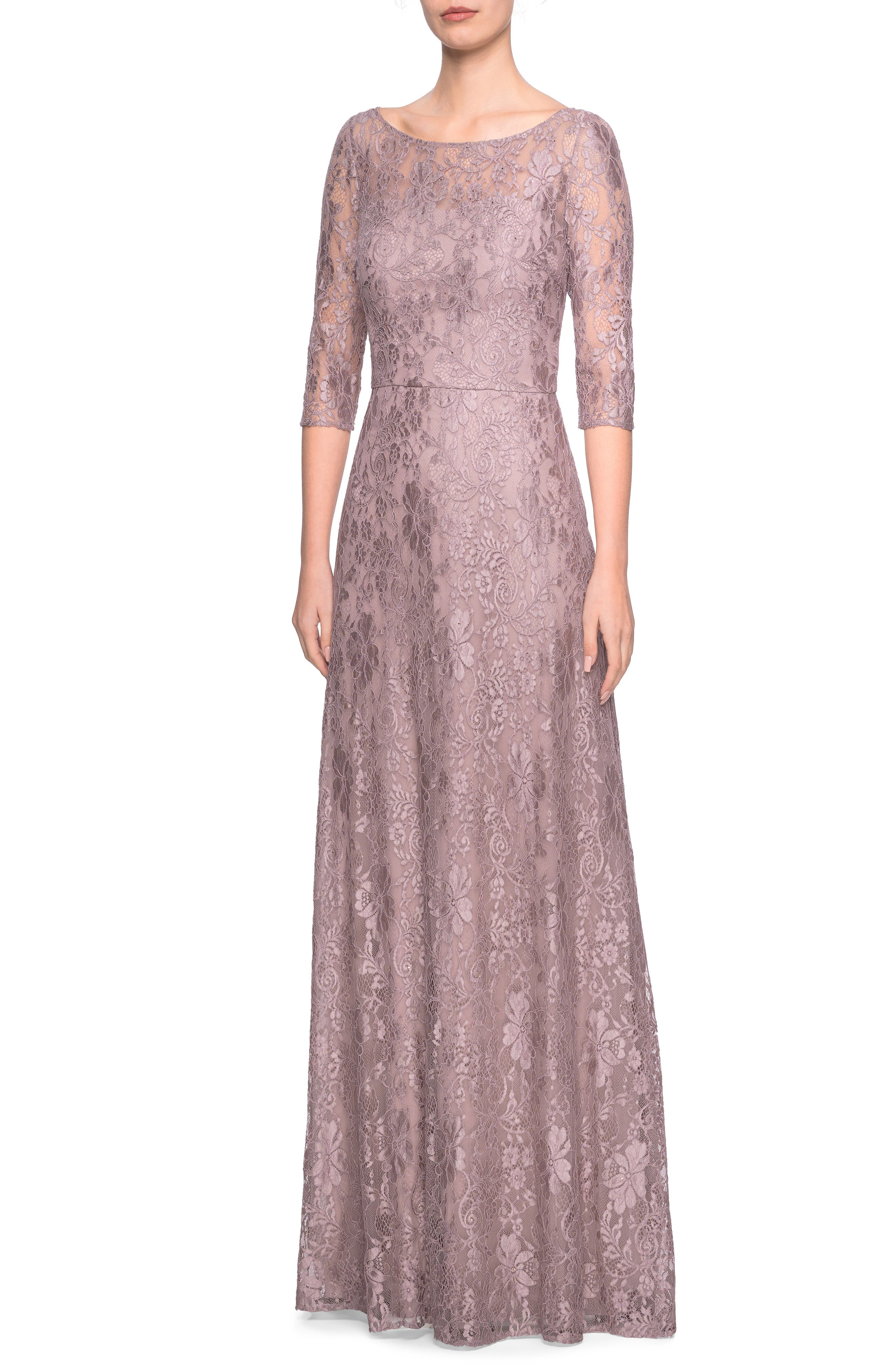 La Femme Lace Evening Dress, Brown