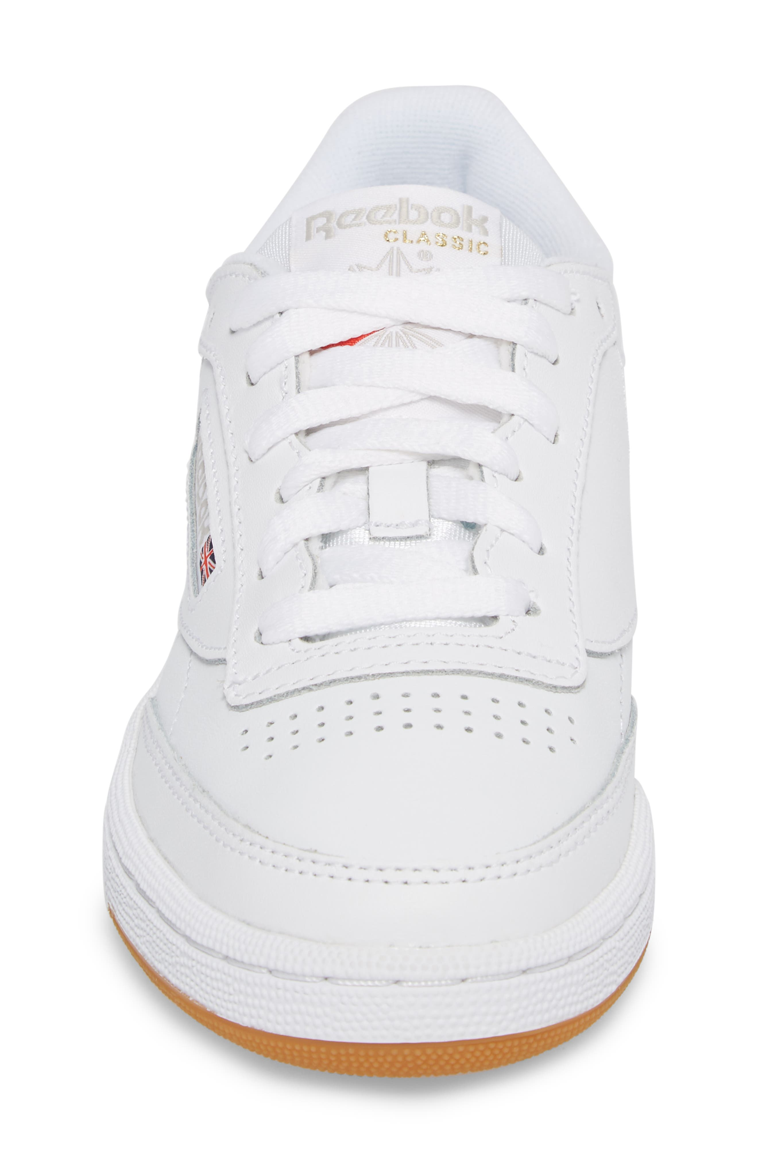 REEBOK, Club C 85 Sneaker, Alternate thumbnail 4, color, WHITE/ LIGHT GREY/ GUM