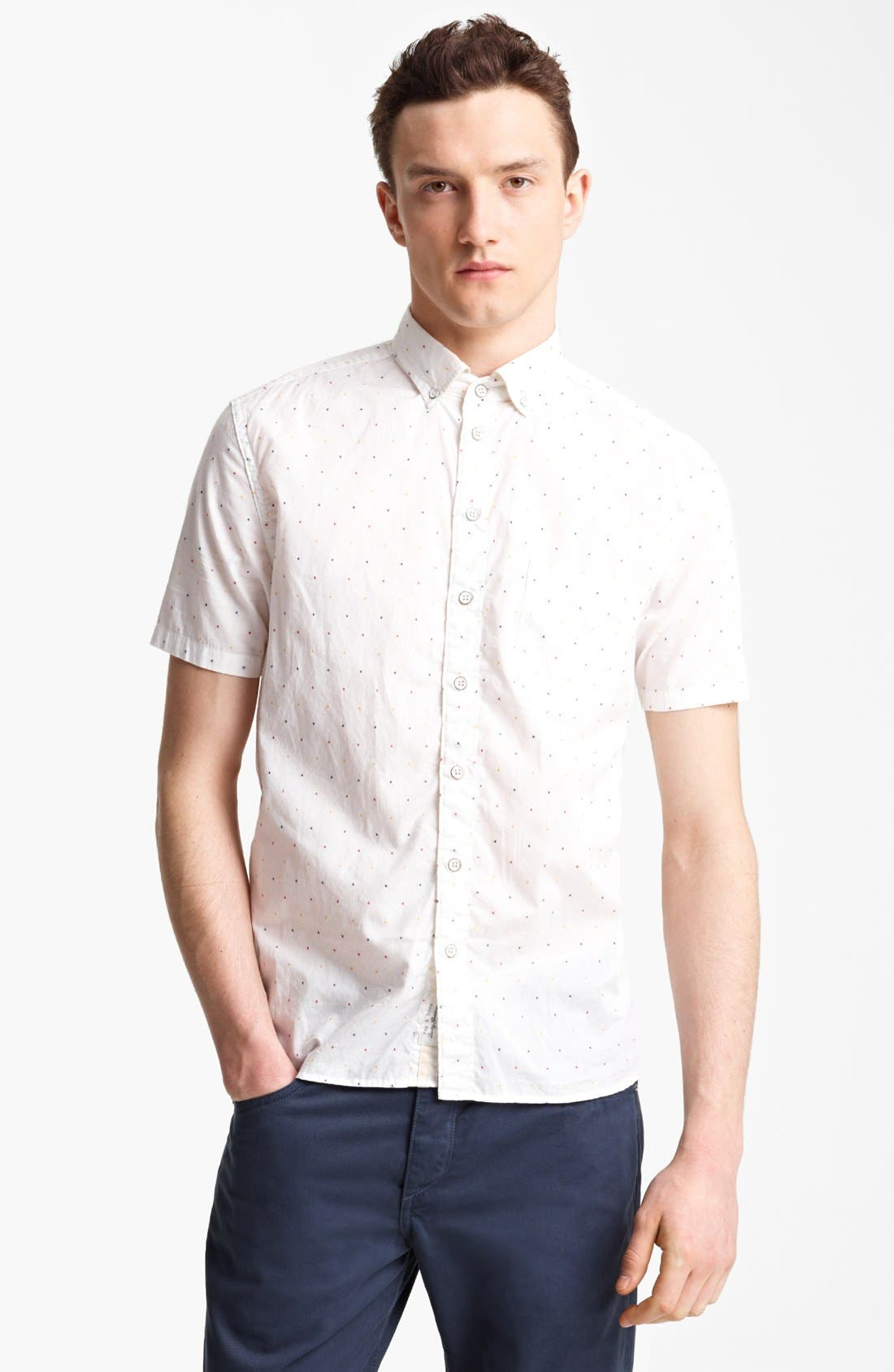 RAG & BONE Dot Woven Shirt, Main, color, 100