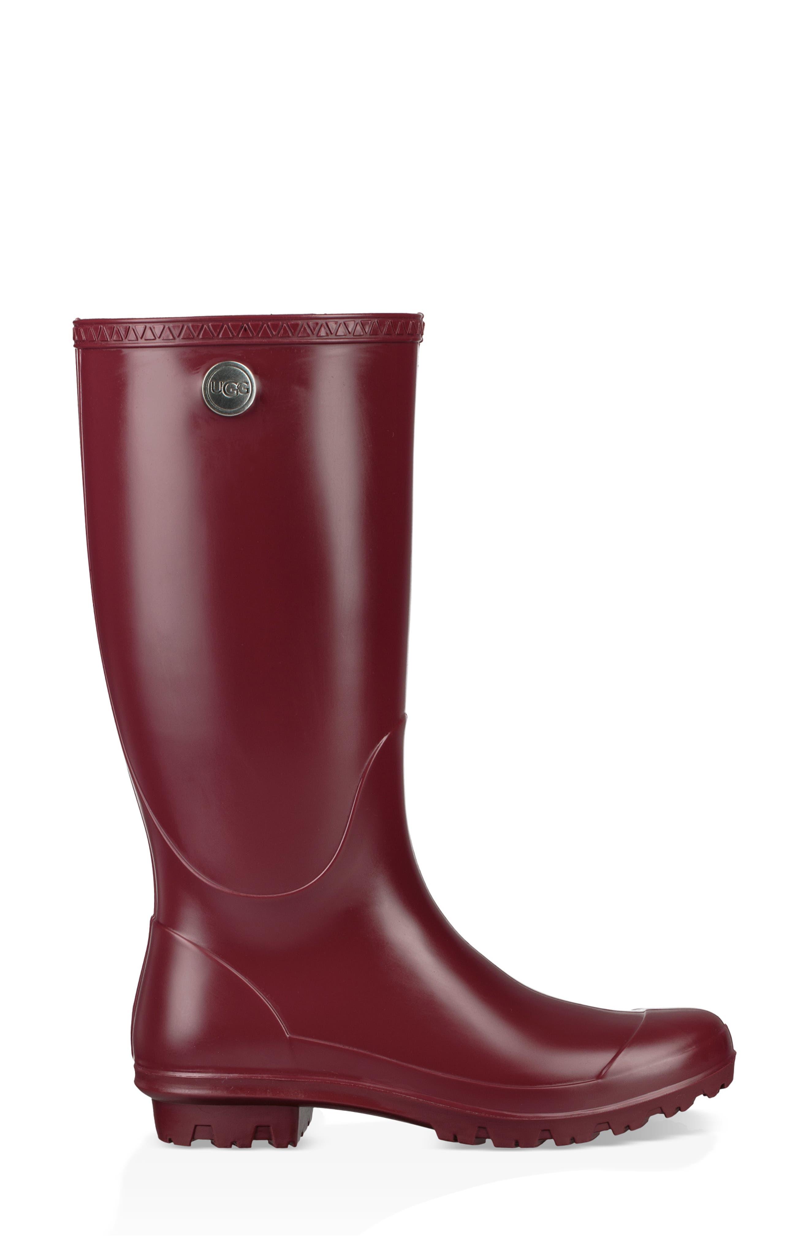 UGG<SUP>®</SUP>, Shelby Matte Waterproof Rain Boot, Alternate thumbnail 3, color, GARNET RUBBER