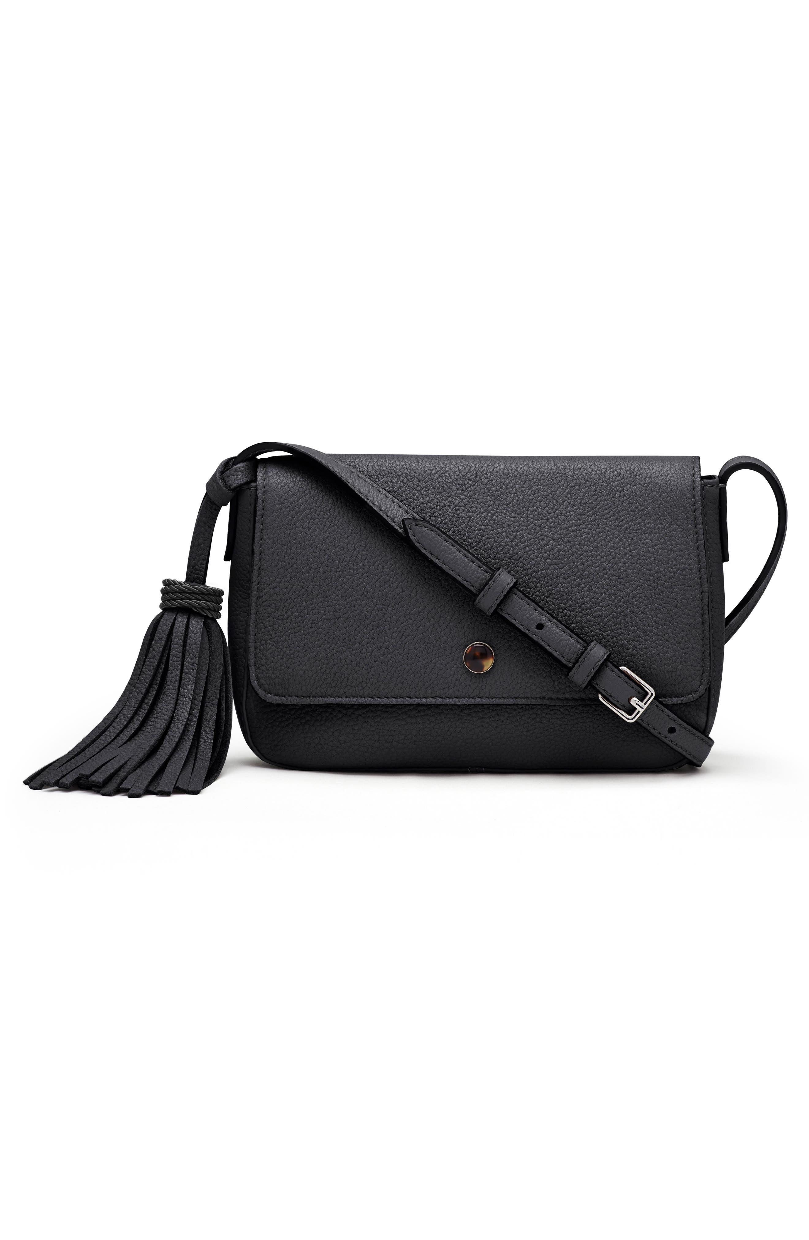 ELIZABETH AND JAMES Micro Cynnie Leather Crossbody Bag, Main, color, 001