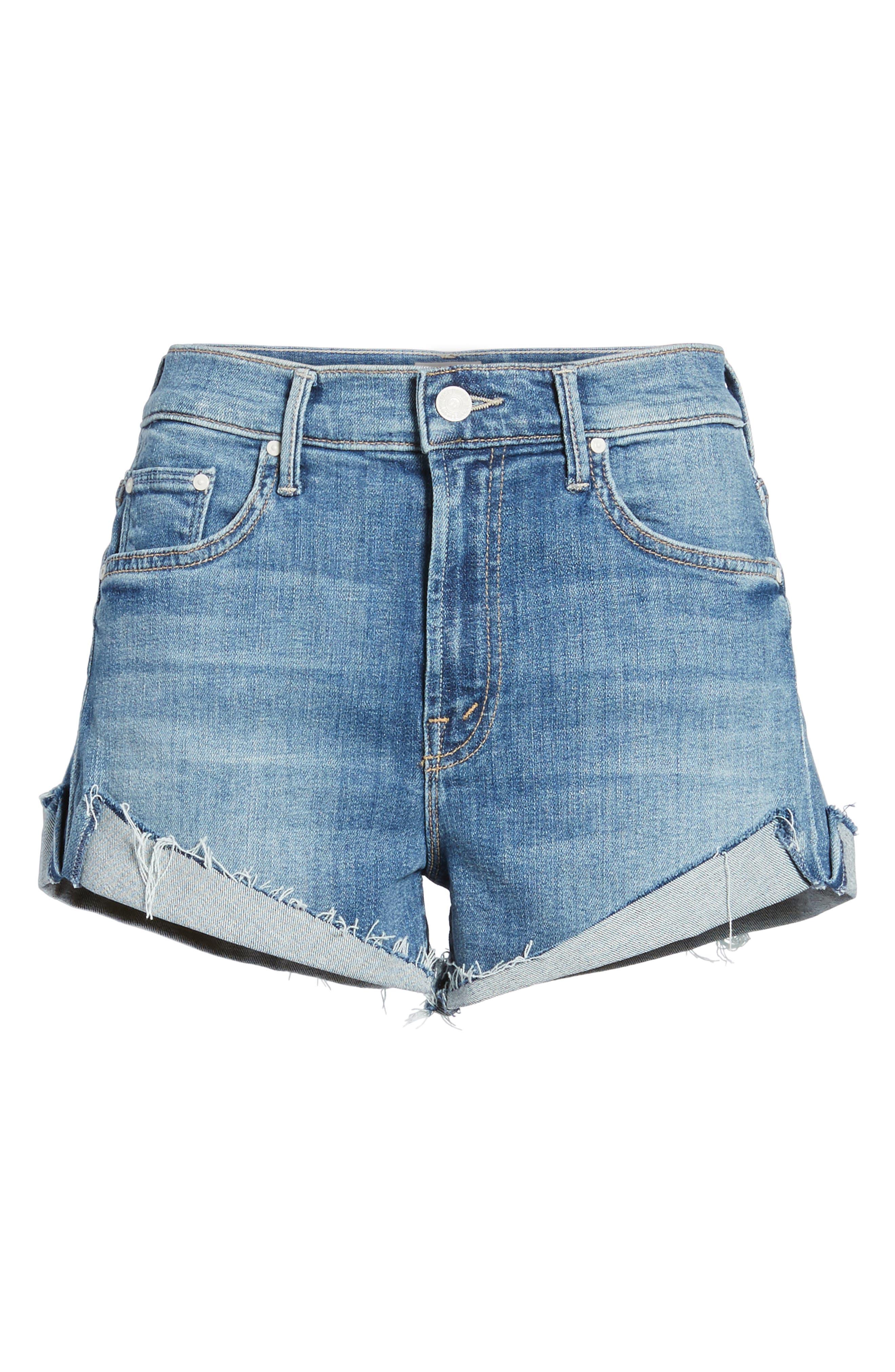 MOTHER, The Rascal Slit Flip Denim Shorts, Alternate thumbnail 7, color, ONE SMART COOKIE
