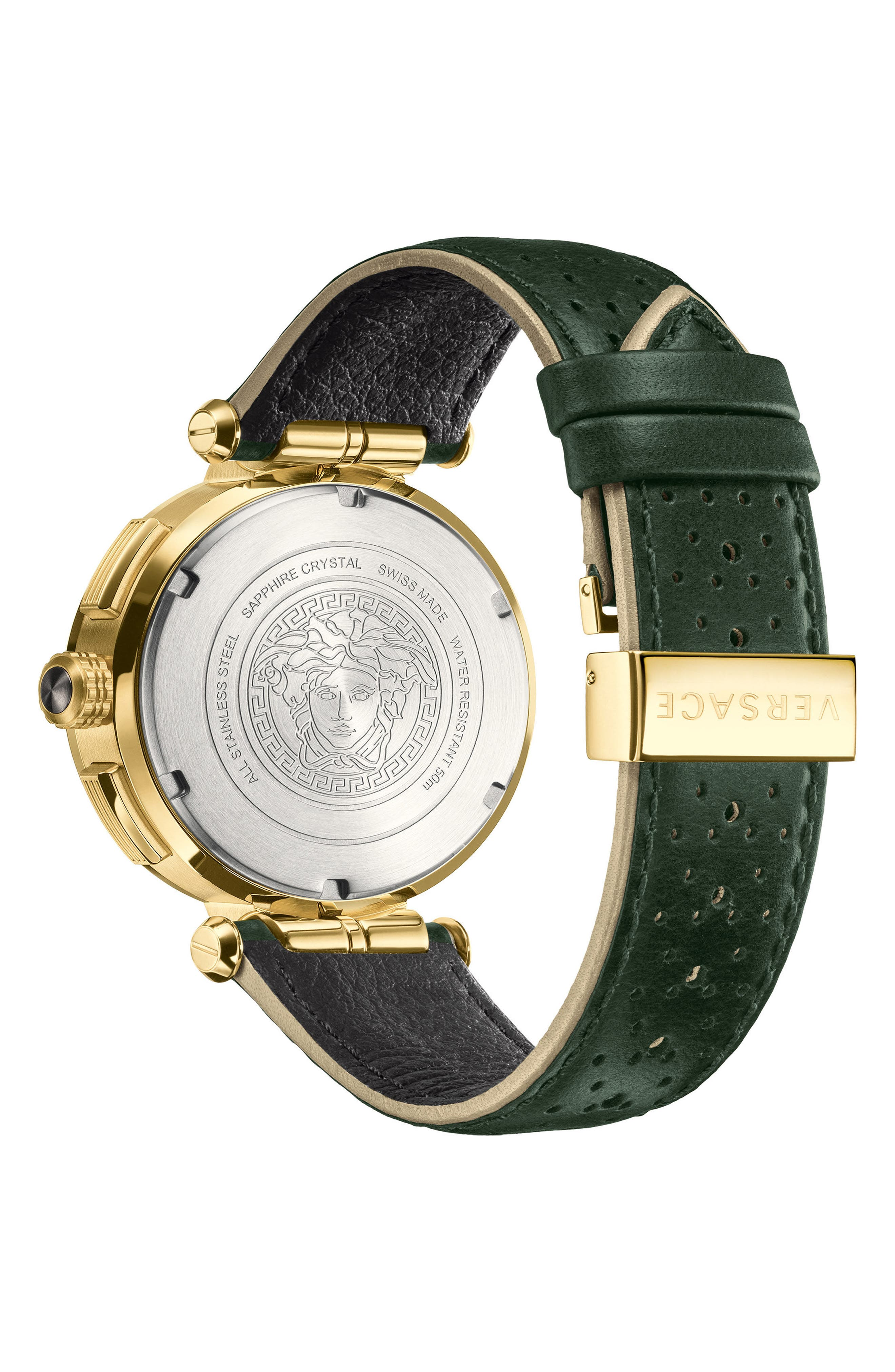 VERSACE, Aion Chronograph Leather Strap Watch, 45mm, Alternate thumbnail 2, color, GREY/ SILVER/ GOLD