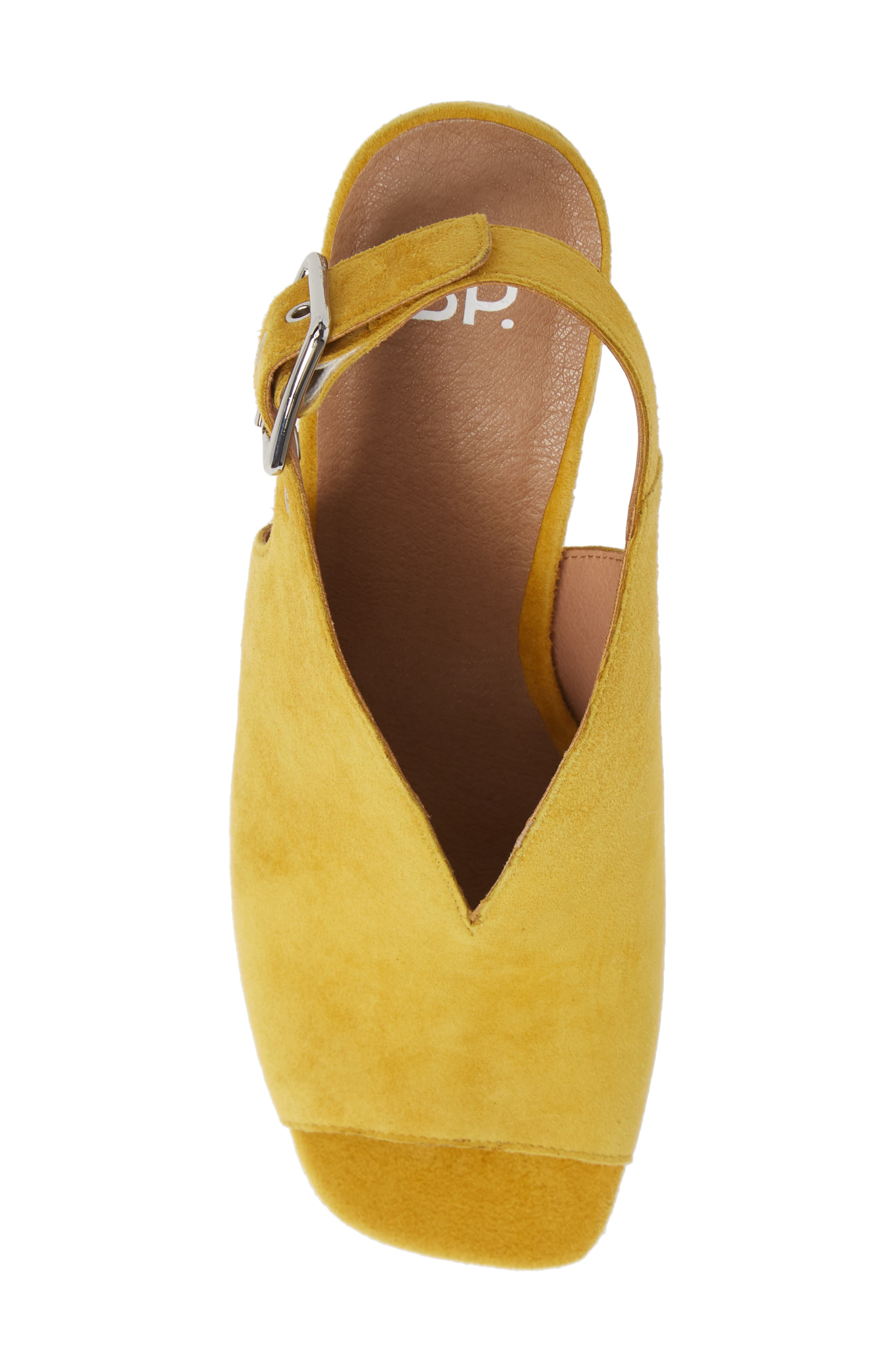 BP., Block Heel Sandal, Alternate thumbnail 5, color, YELLOW SUEDE