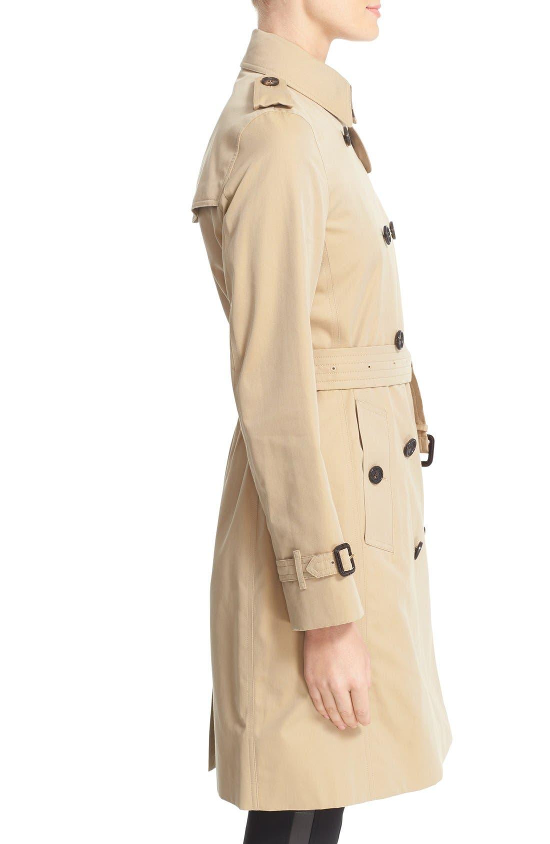 BURBERRY, Kensington Long Trench Coat, Alternate thumbnail 6, color, HONEY