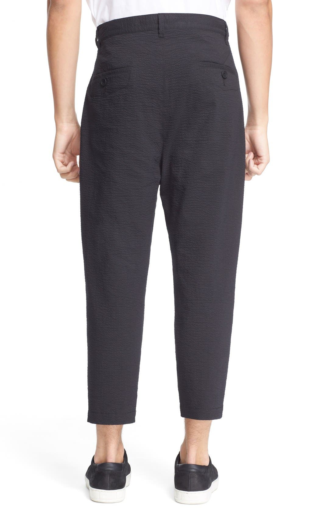 HELMUT LANG, Seersucker Trousers, Alternate thumbnail 5, color, 001