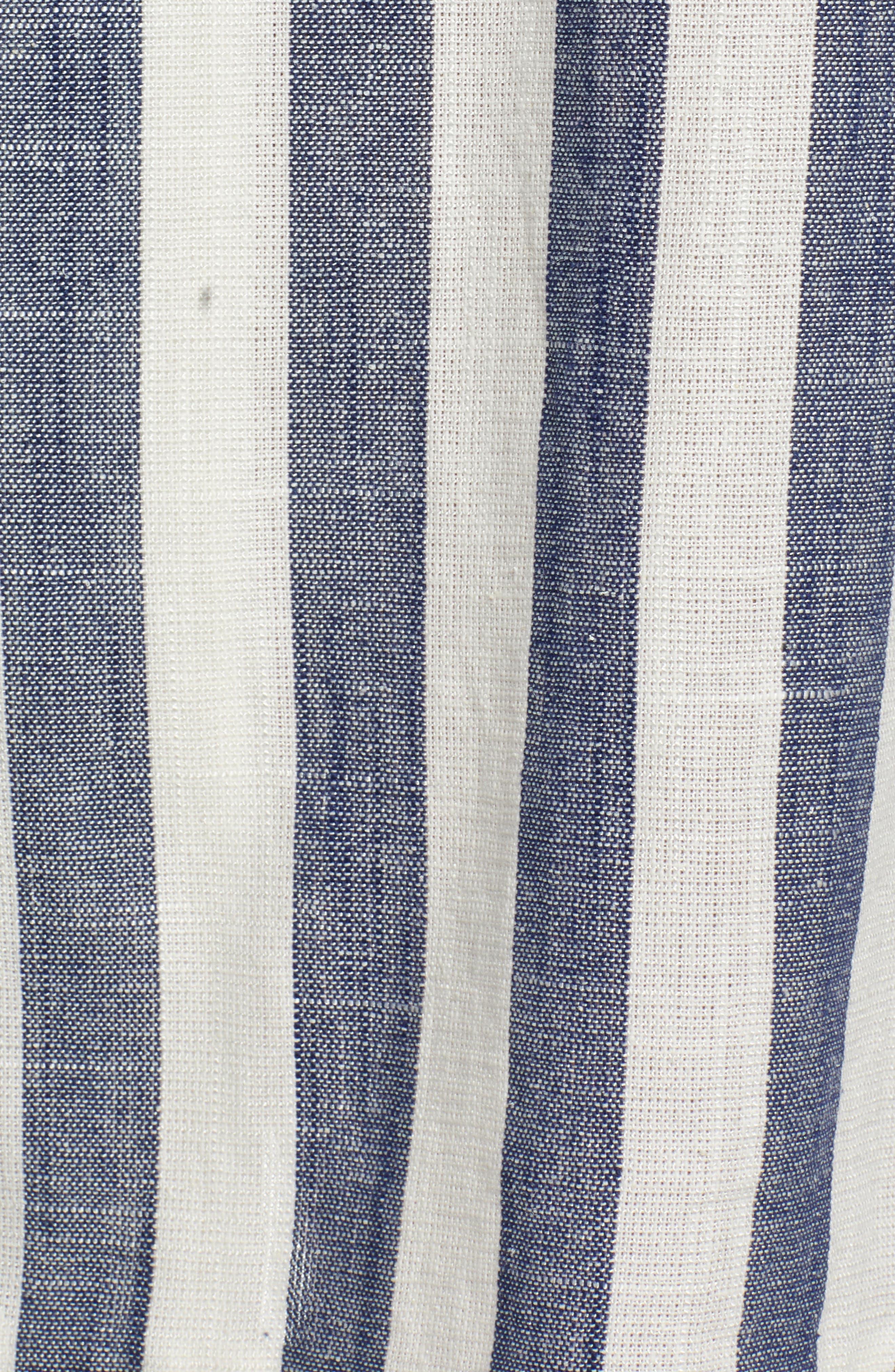 J.O.A., Stripe Cotton & Linen Shirtdress, Alternate thumbnail 6, color, NAVY/ WHITE STRIPE