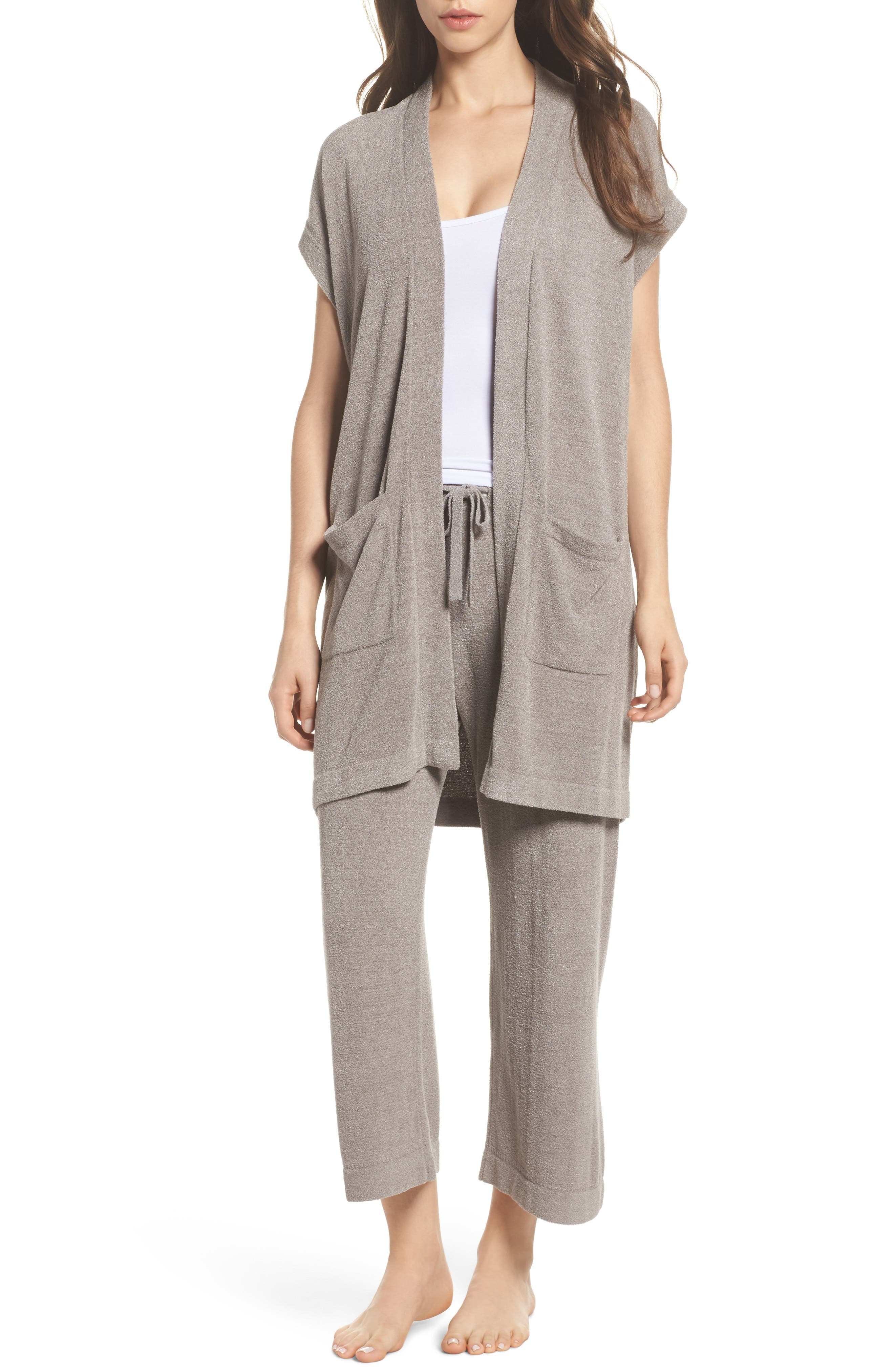 BAREFOOT DREAMS<SUP>®</SUP>, Cozychic Ultra Lite<sup>®</sup> Lounge Cardigan, Alternate thumbnail 7, color, BEACH ROCK