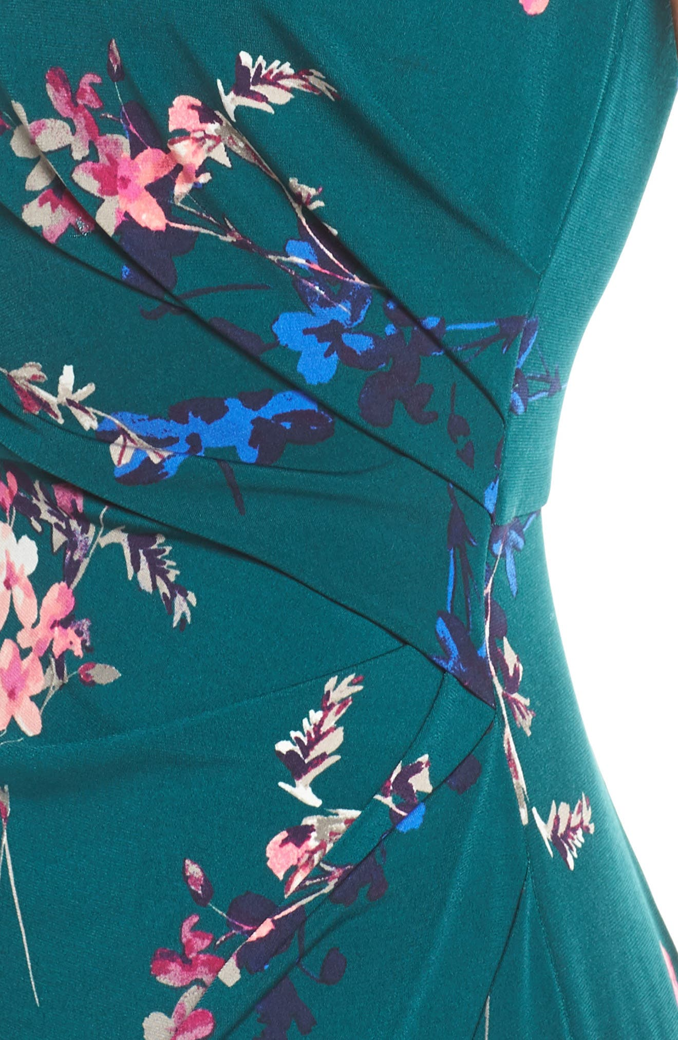 ELIZA J, Cap Sleeve Floral Print Sheath Dress, Alternate thumbnail 5, color, GREEN
