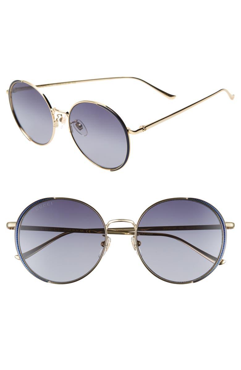 6d1493e7ab5 Gucci 56mm Gradient Round Sunglasses