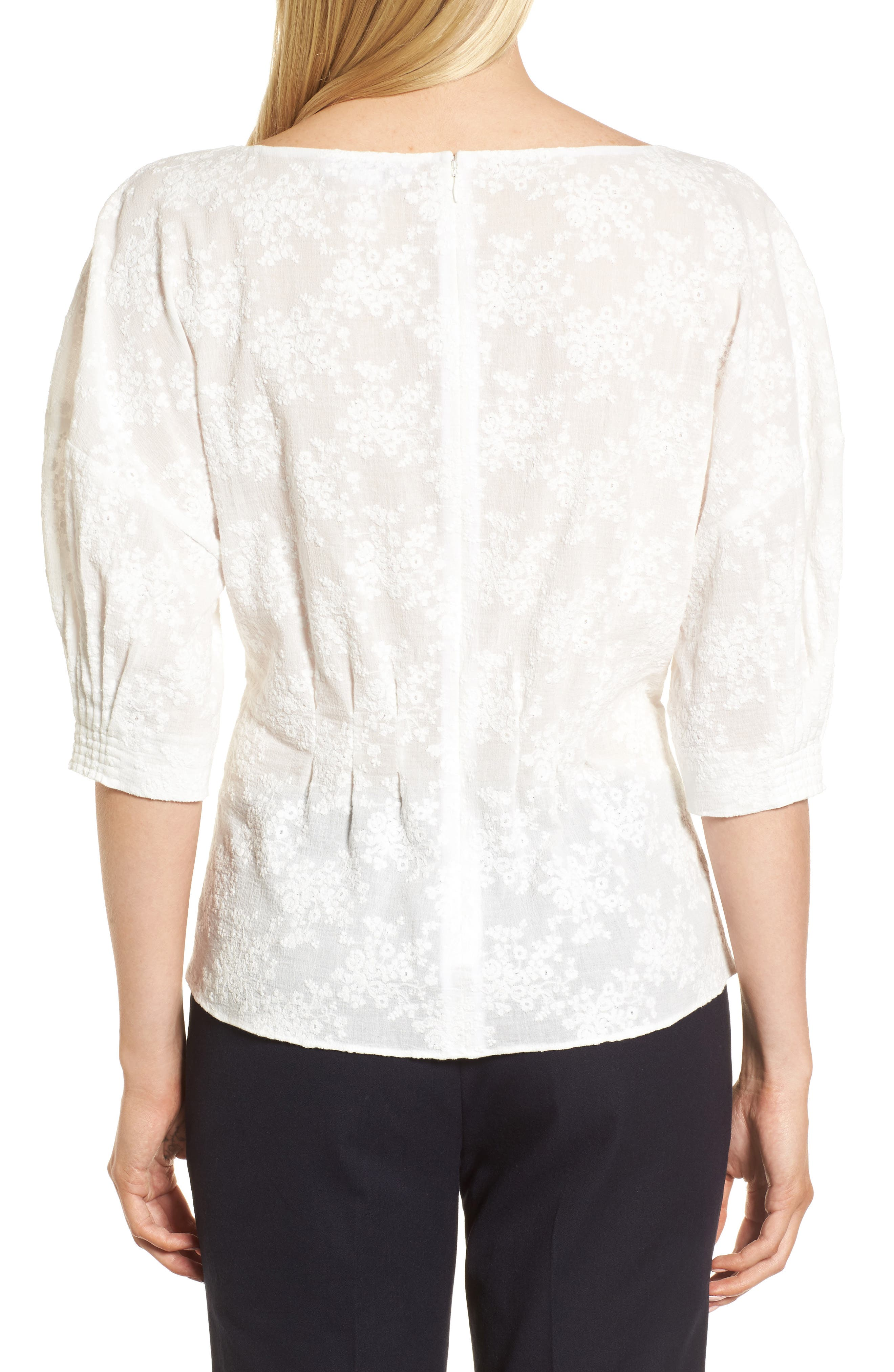 NORDSTROM SIGNATURE, Embroidered Tucked Top, Alternate thumbnail 2, color, 100