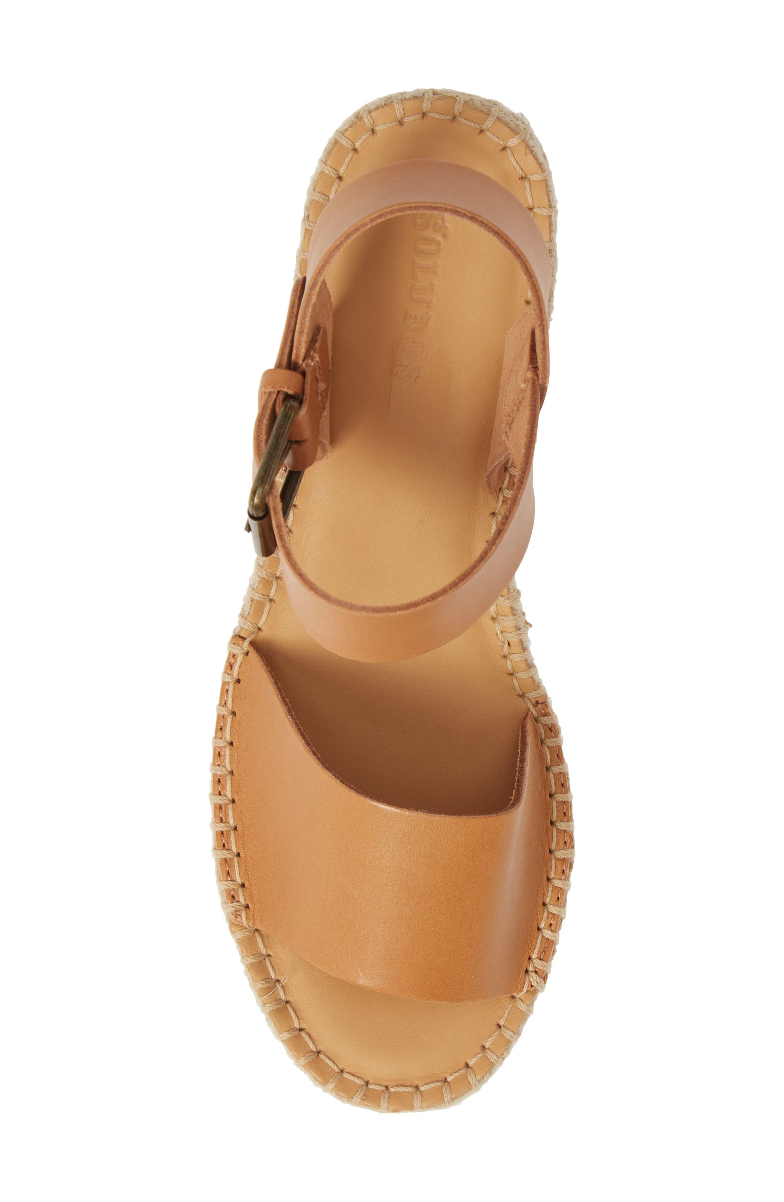 SOLUDOS, Minorca Platform Wedge Sandal, Alternate thumbnail 5, color, NUDE LEATHER