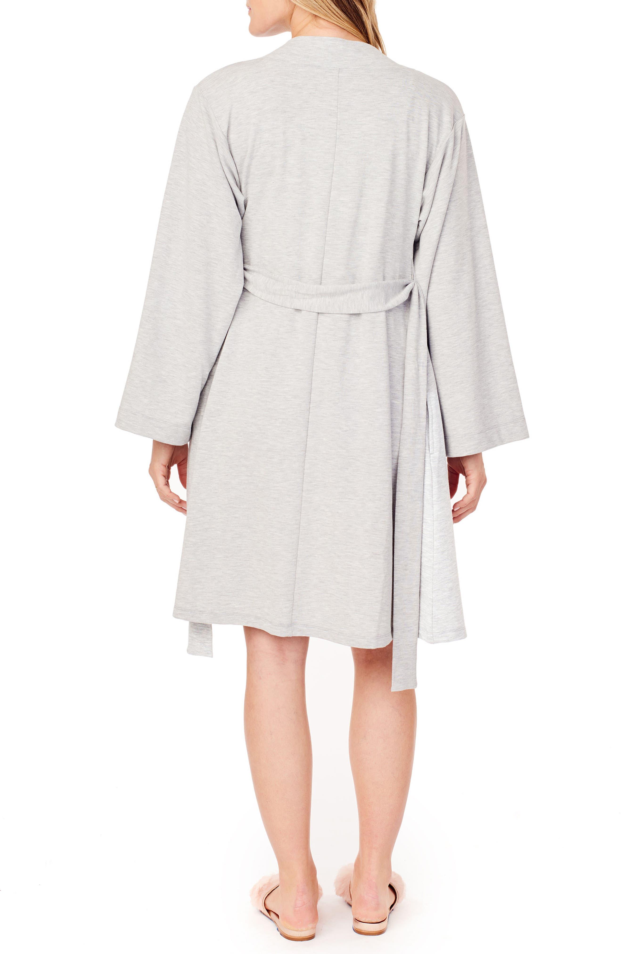 INGRID & ISABEL<SUP>®</SUP>, Kimono Lounge Maternity Robe, Alternate thumbnail 2, color, LIGHT HEATHER GREY
