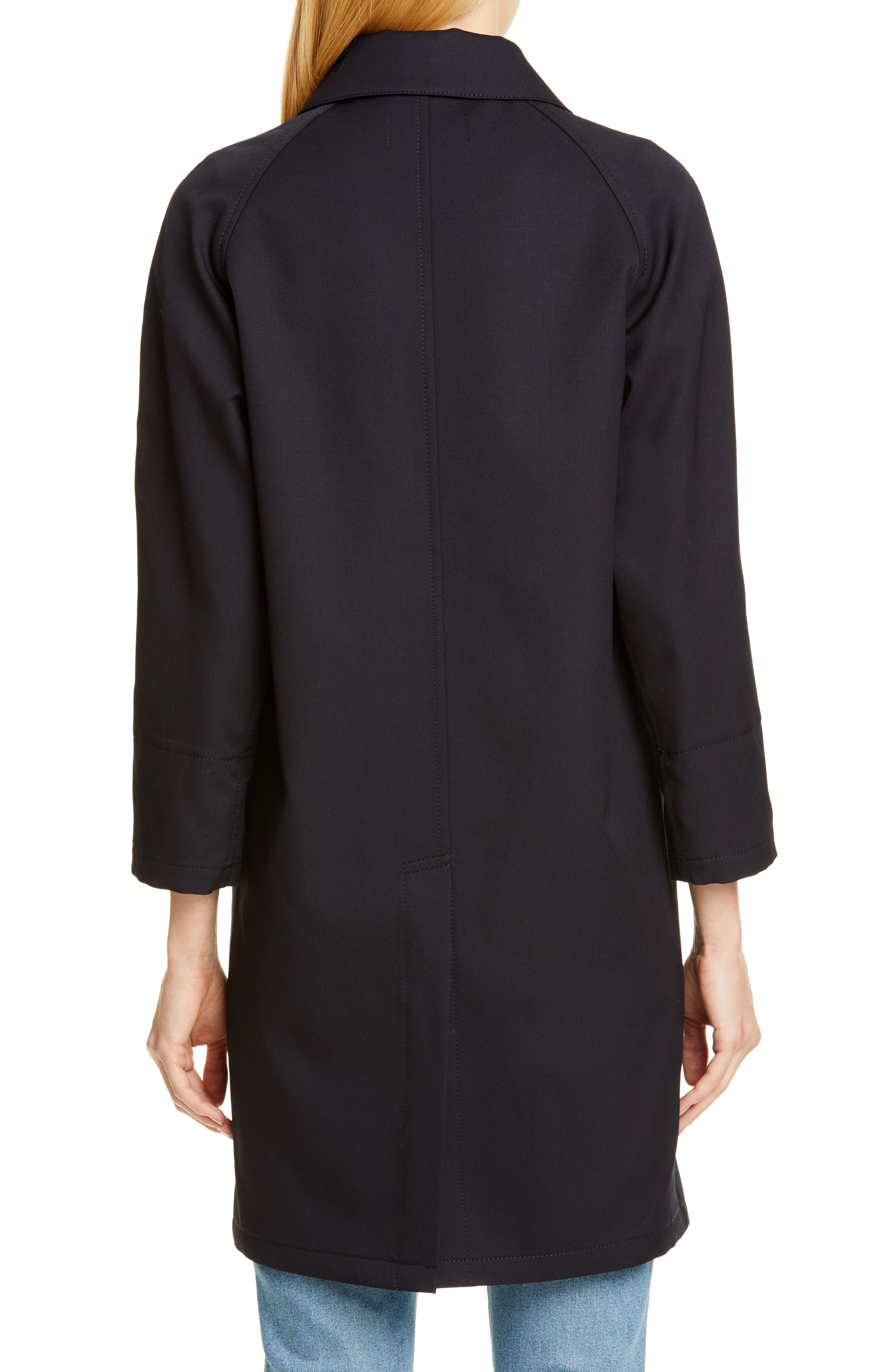 TRICOT COMME DES GARÇONS, Wool Cab Coat with Print Lining, Alternate thumbnail 2, color, NAVY