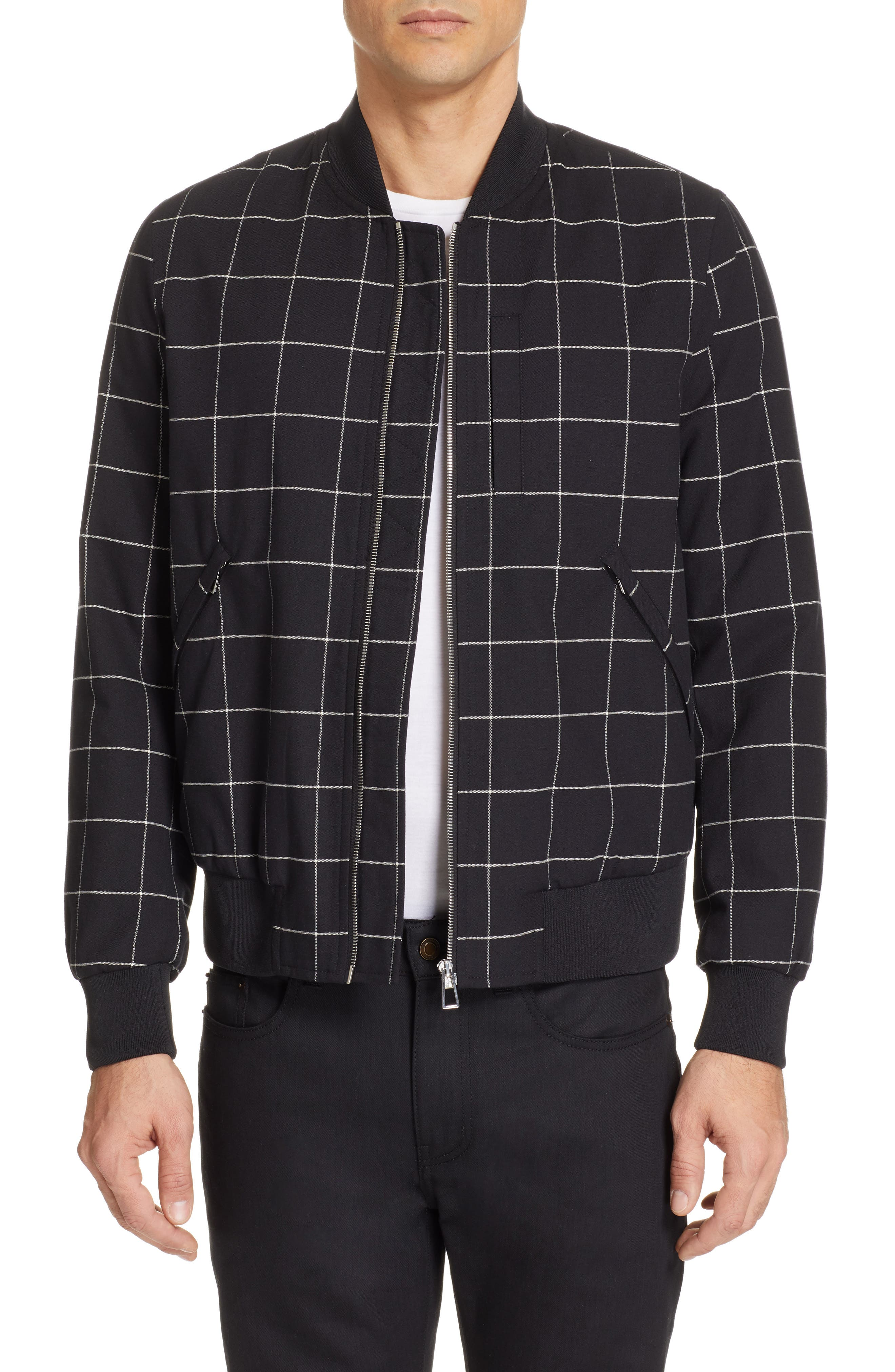 PS PAUL SMITH Grid Wool Blend Bomber Jacket, Main, color, BLACK