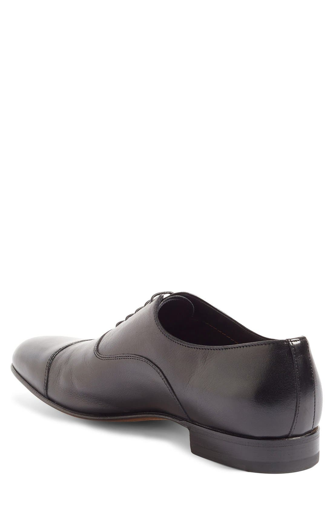 SANTONI, Darian Cap Toe Oxford, Alternate thumbnail 4, color, BLACK LEATHER