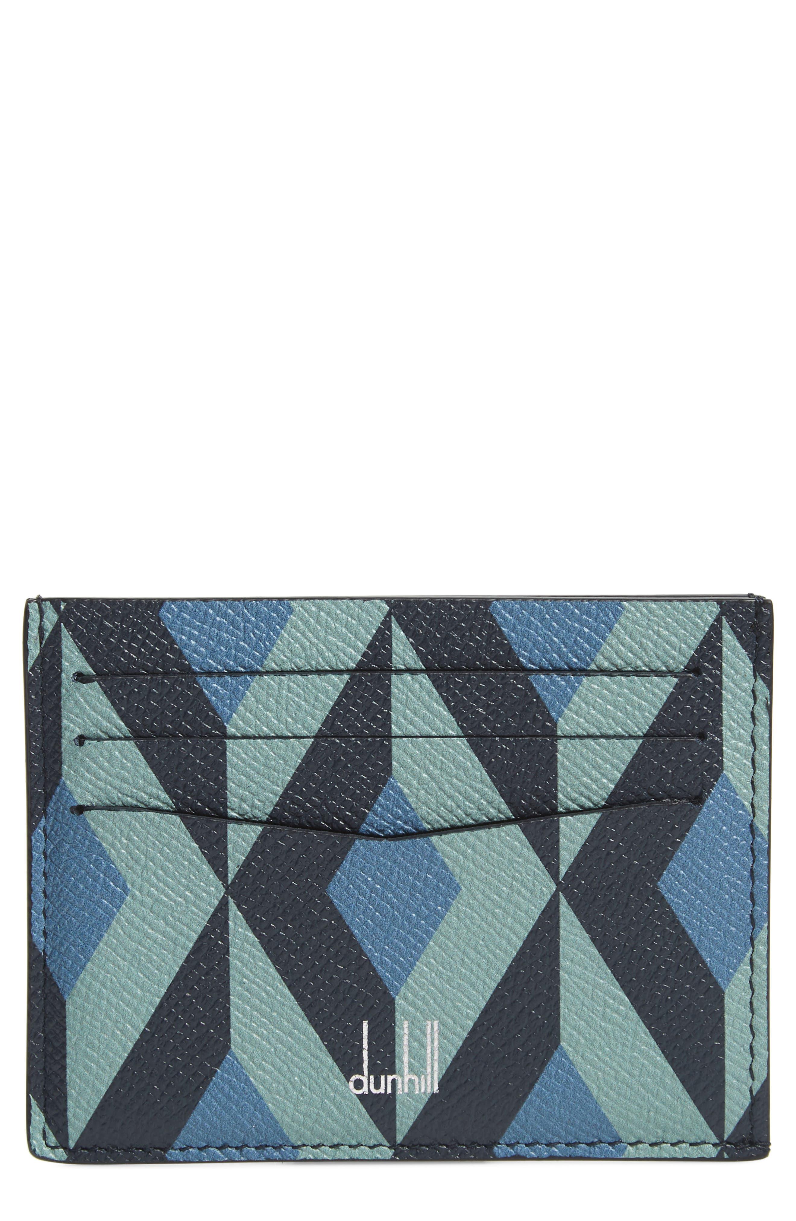 DUNHILL, Cadogan Leather Card Case, Main thumbnail 1, color, STONE BLUE