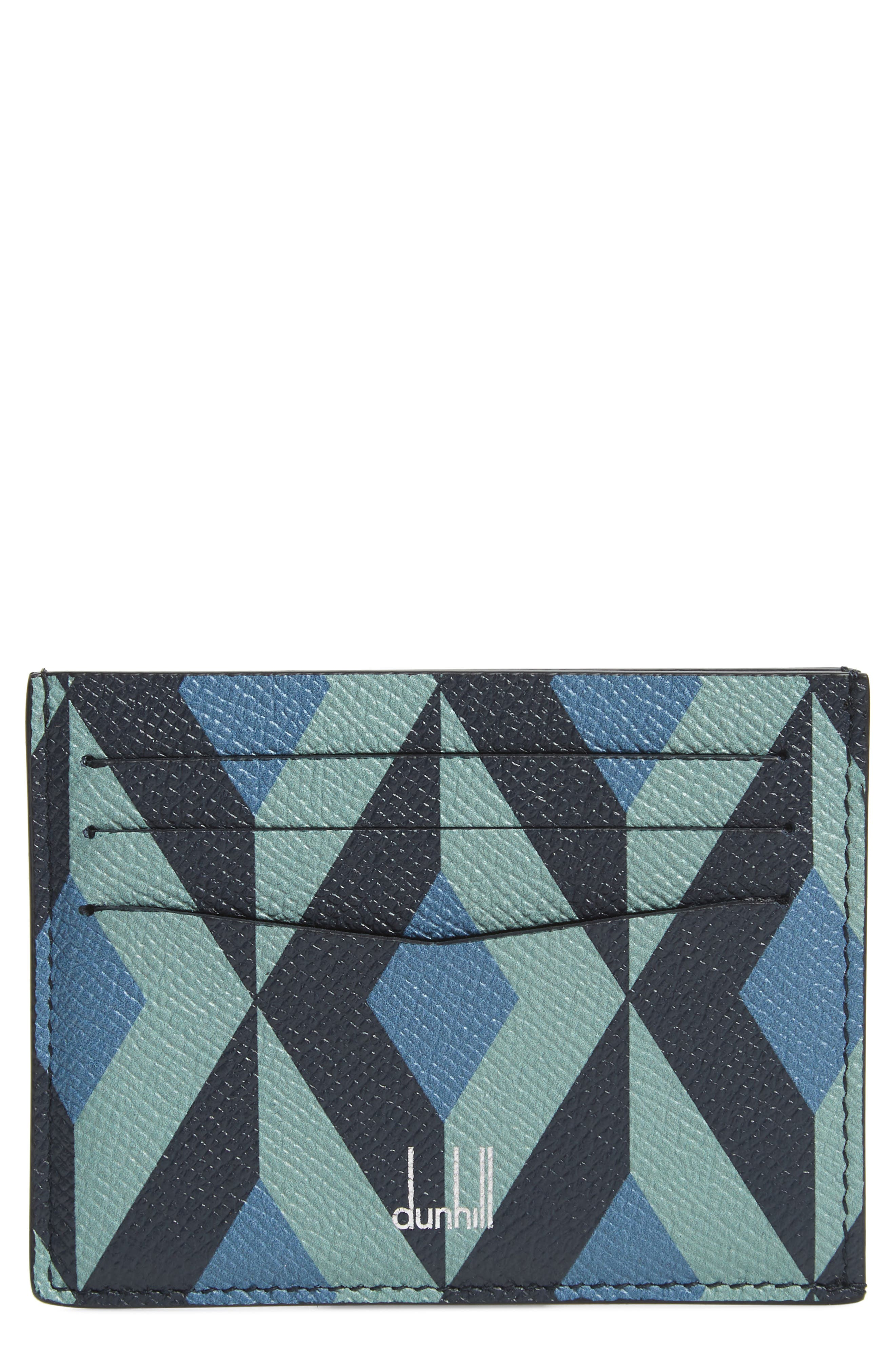 DUNHILL Cadogan Leather Card Case, Main, color, STONE BLUE
