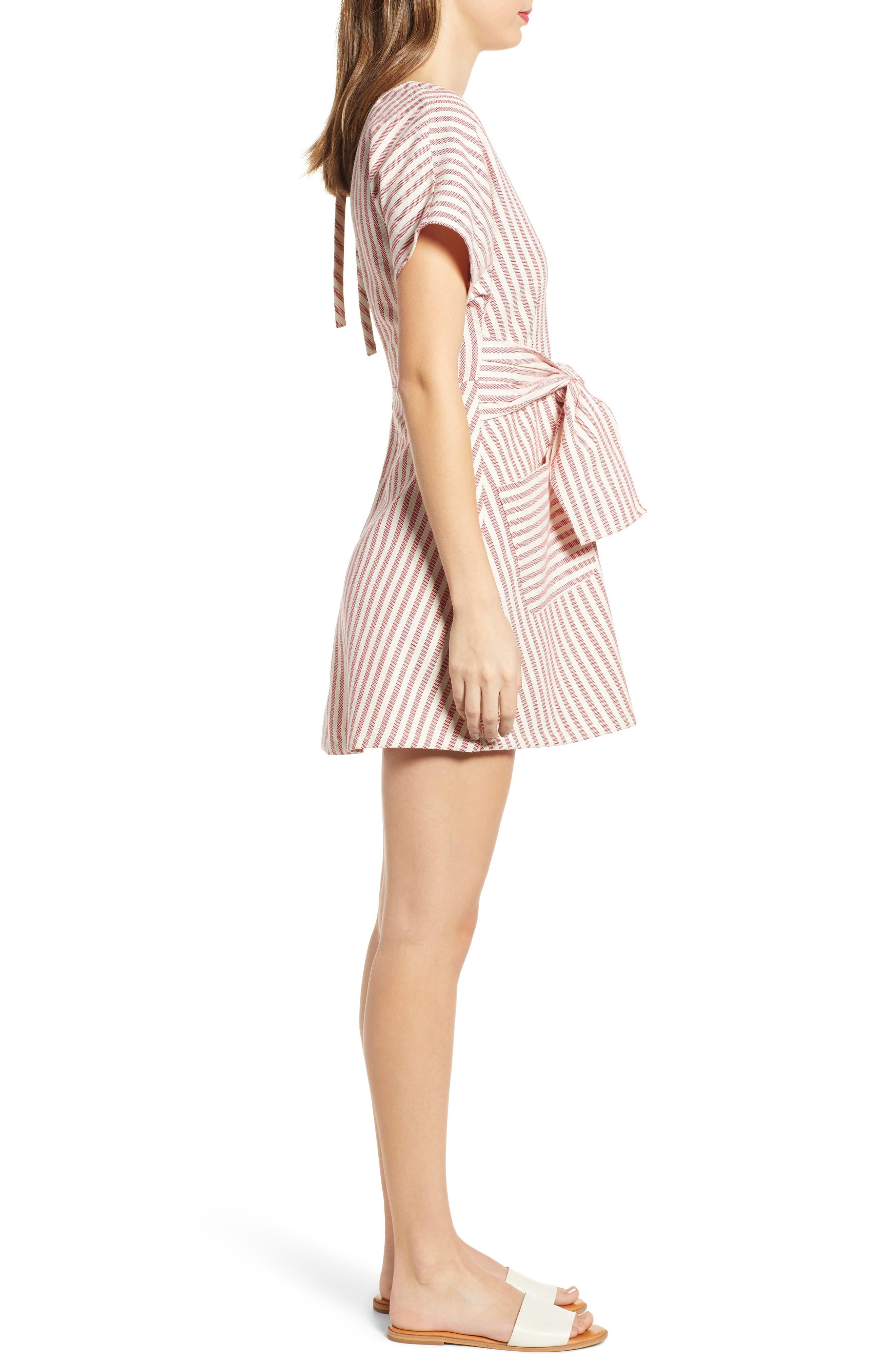 MOON RIVER, Button Detail Stripe Minidress, Alternate thumbnail 3, color, RED STRIPE
