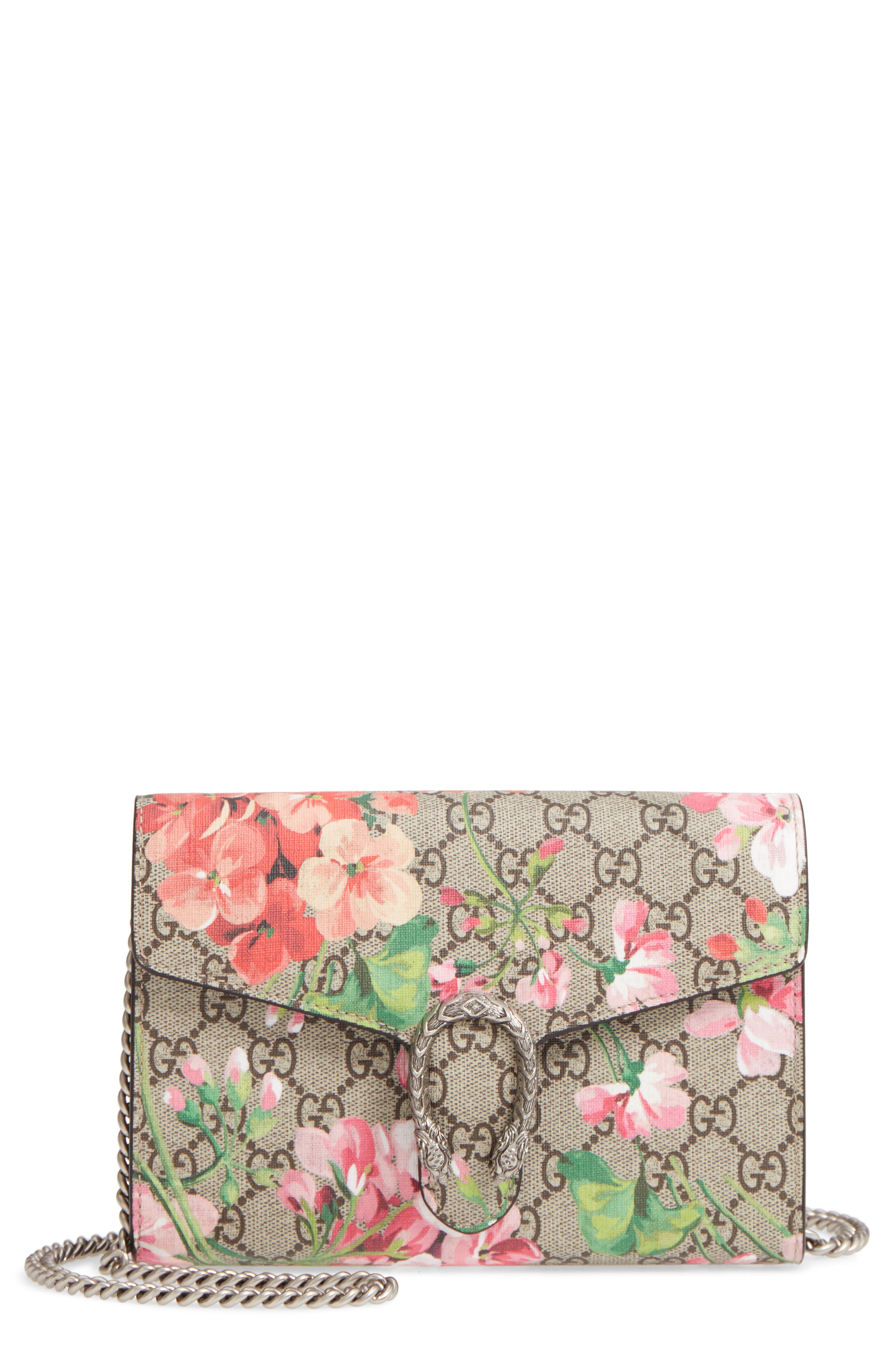 GUCCI, Blooms GG Supreme Canvas Wallet on a Chain, Main thumbnail 1, color, BEIGE EBONY/ DRY ROSE