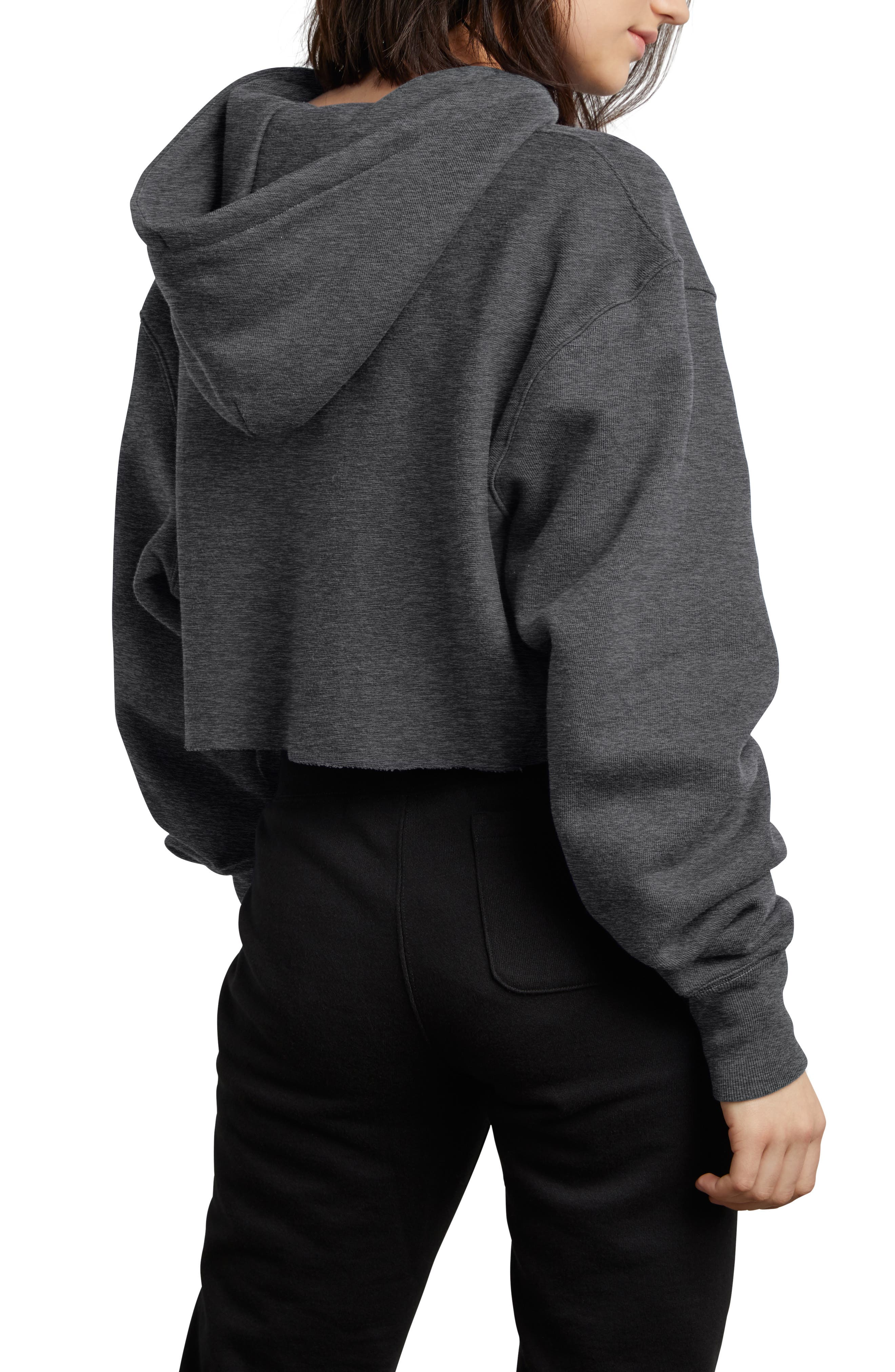 CHAMPION, Reverse Weave Crop Hoodie, Alternate thumbnail 2, color, GRANITE HEATHER