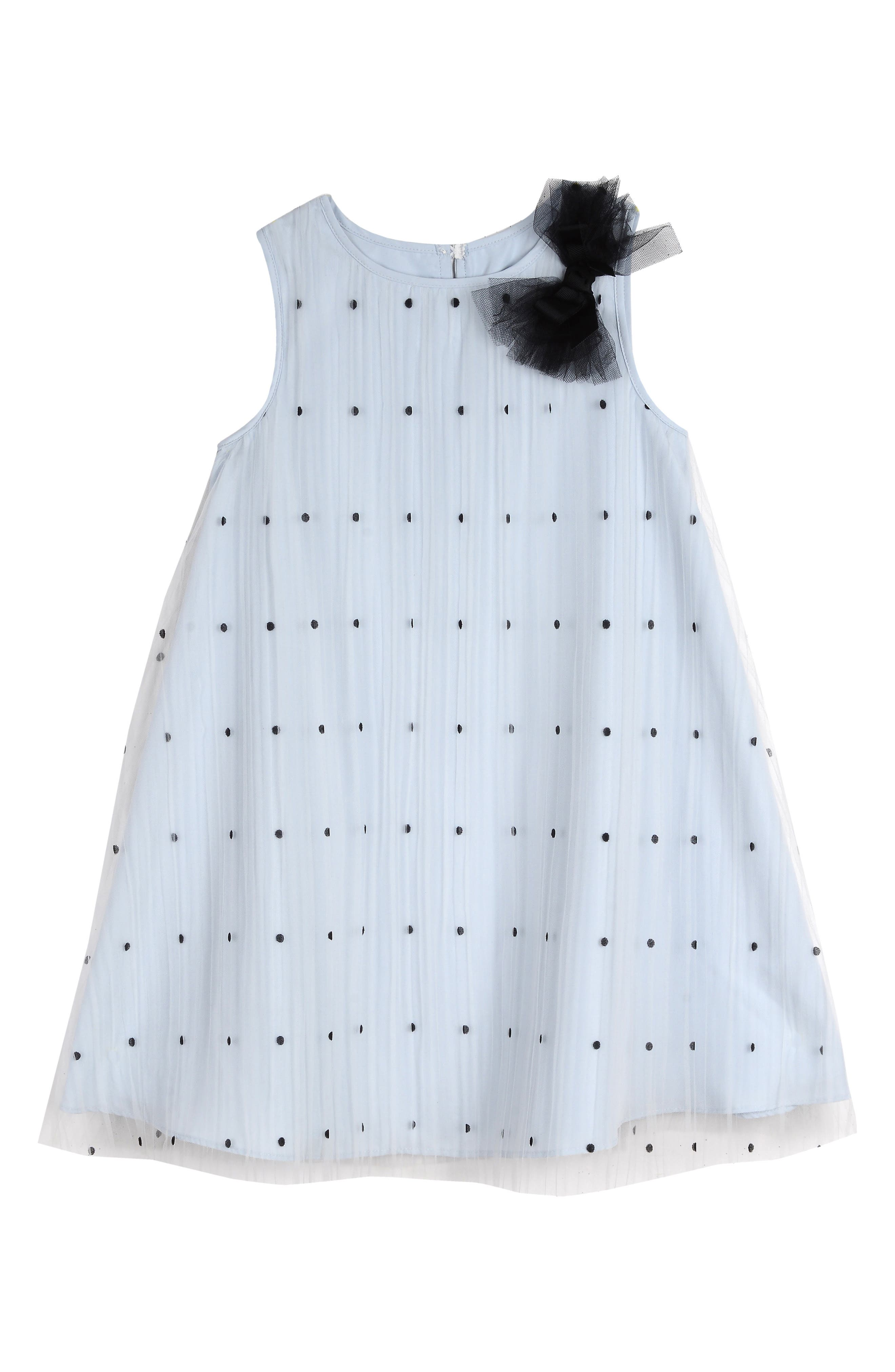 PIPPA & JULIE, Polka Dot Tulle Shift Dress, Main thumbnail 1, color, BLUE/ BLACK