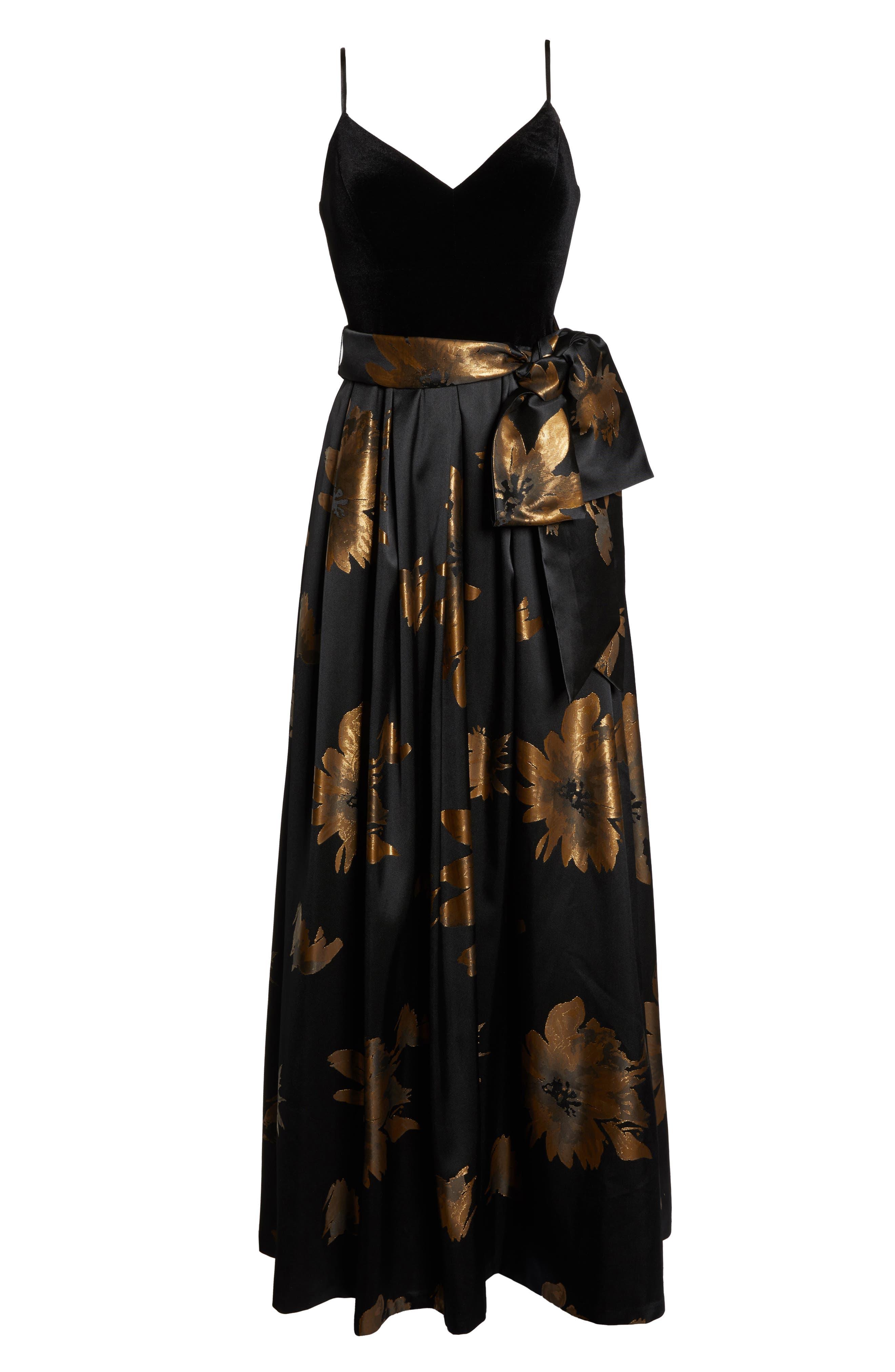 ELIZA J, Metallic Print Gown, Alternate thumbnail 7, color, 001