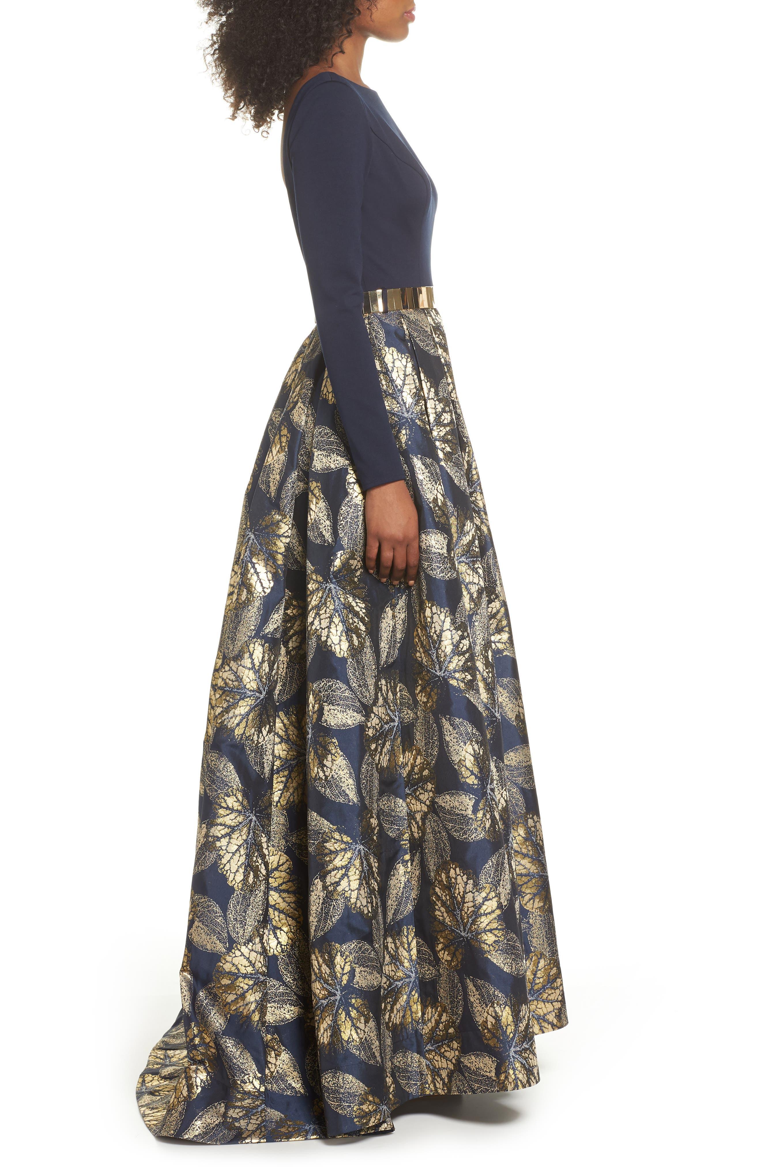 IEENA FOR MAC DUGGAL, Mac Duggal Long Sleeve Metallic Waist Print Gown, Alternate thumbnail 3, color, NAVY GOLD