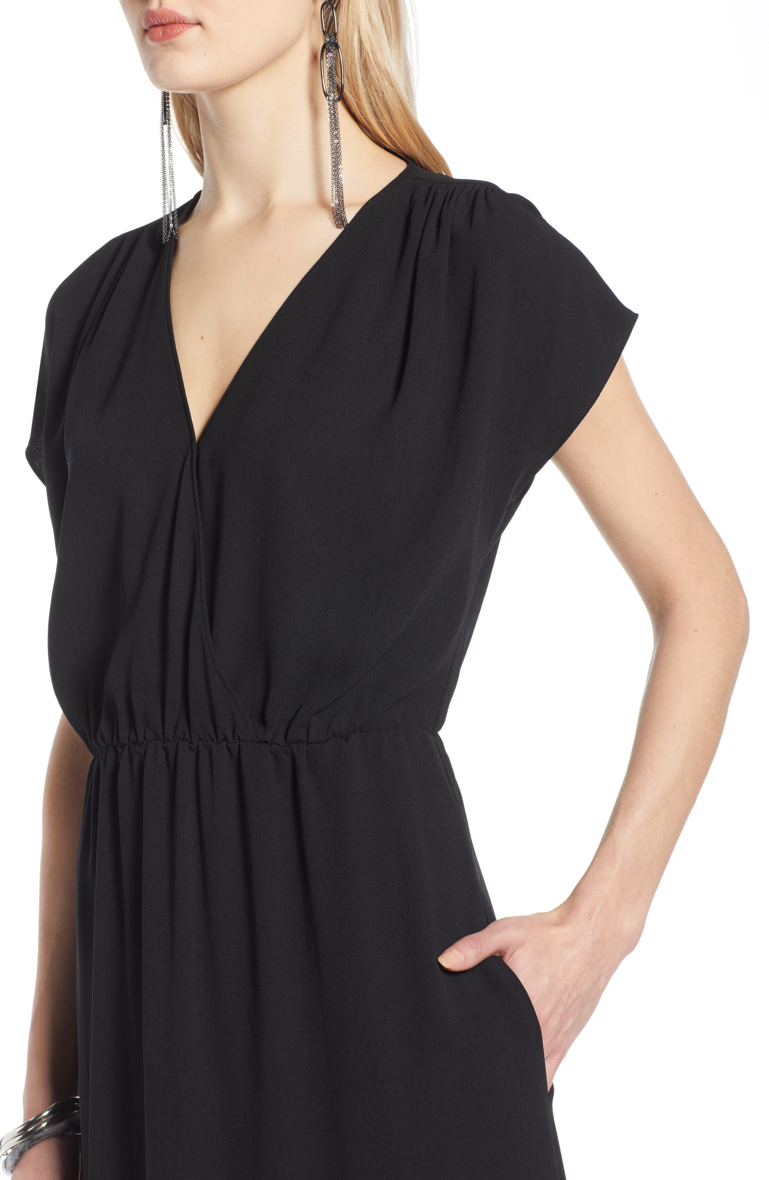 HALOGEN<SUP>®</SUP>, V-Neck Maxi Dress, Alternate thumbnail 5, color, BLACK